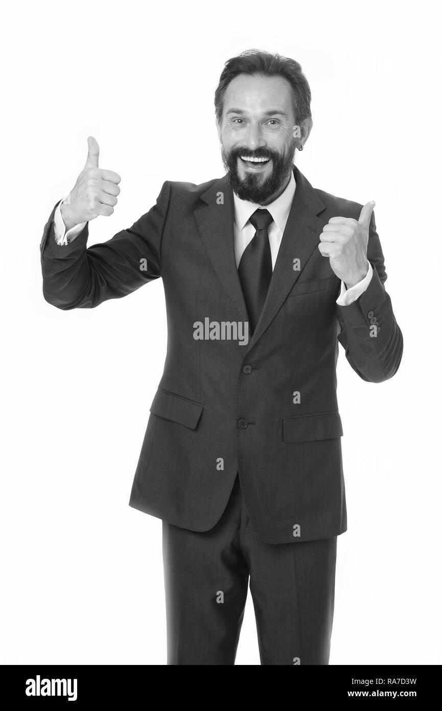 Hombre mostrar pulgares para arriba para el éxito en los negocios. Hombre  feliz en el cb553e65c971