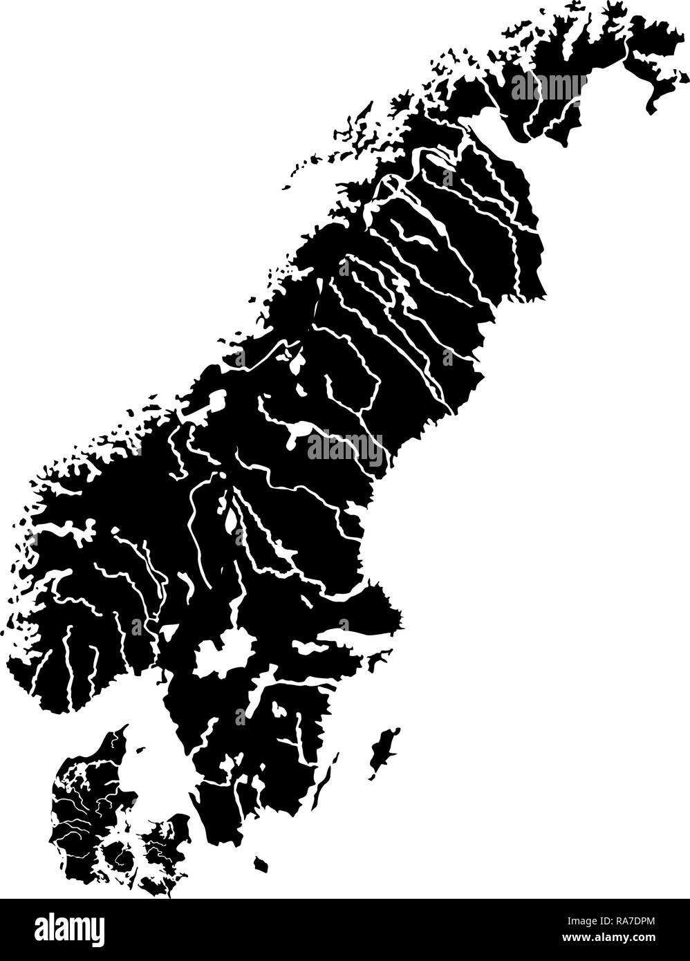 Mapa de Escandinavia icono de vector de color negro I tipo plano simple imagen Ilustración del Vector