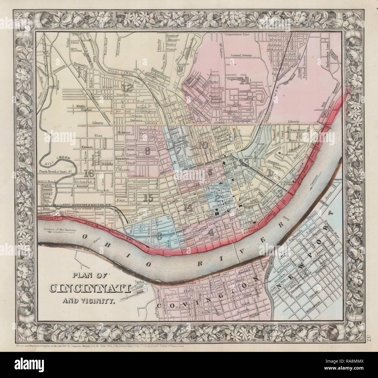 1864 Mitchell Mapa De Cincinnati Ohio Reimagined By Gibon Arte