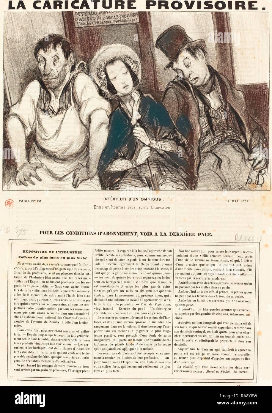 Honoré Daumier, Francés (1808 - 1879), interieur d'un omnibus de 1839, Litografía sobre Papel prensa. Reinventado Foto de stock