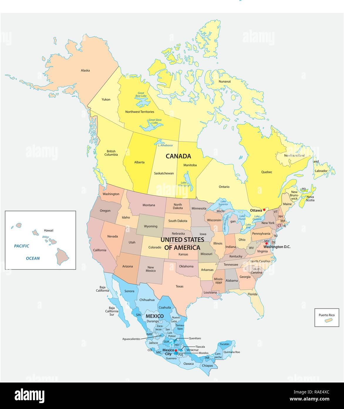 Mapa de vectores política y administrativa de los tres Estados de América del Norte, México, Canadá y los Estados Unidos de América Imagen De Stock