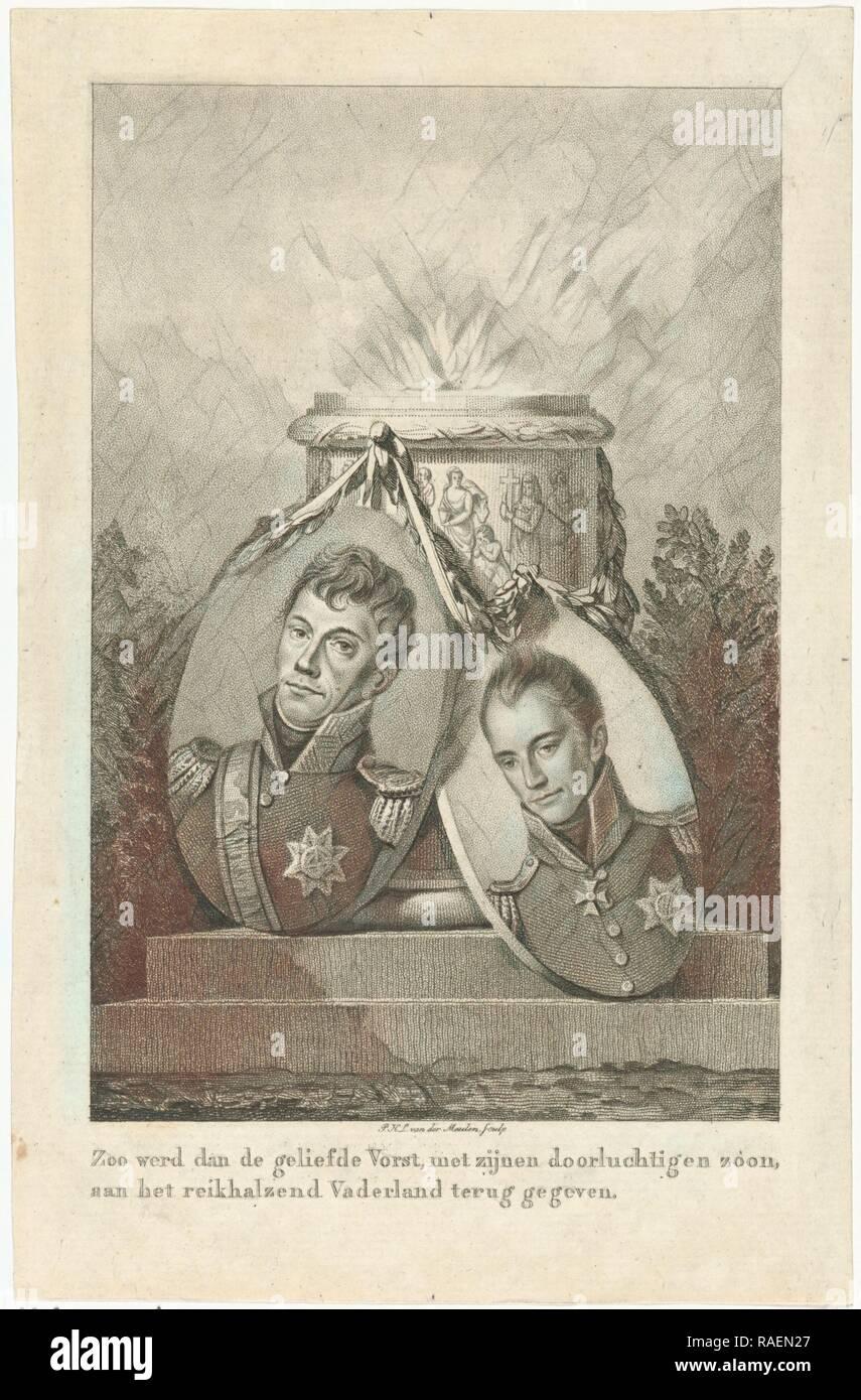 Oferta pilar con los retratos del rey Guillermo I y el Príncipe Heredero Willem II, Pieter van der Meulen, 1813 - 181 reinventado Imagen De Stock