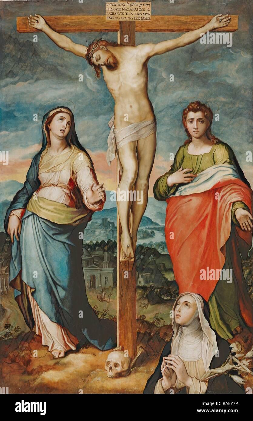 Cristo en la cruz con María, los Santos Juan Evangelista y Catalina de Siena, Marco Pino (Italiano (Napolitano reinventado Foto de stock