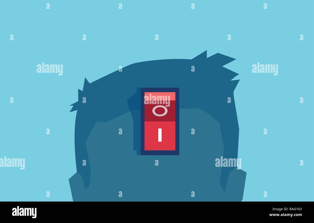 Vector de un cerebro de alimentación, interruptor de encendido funciona bien despierto. Cortar el pensamiento negativo concepto aislado en azul. Ilustración del Vector