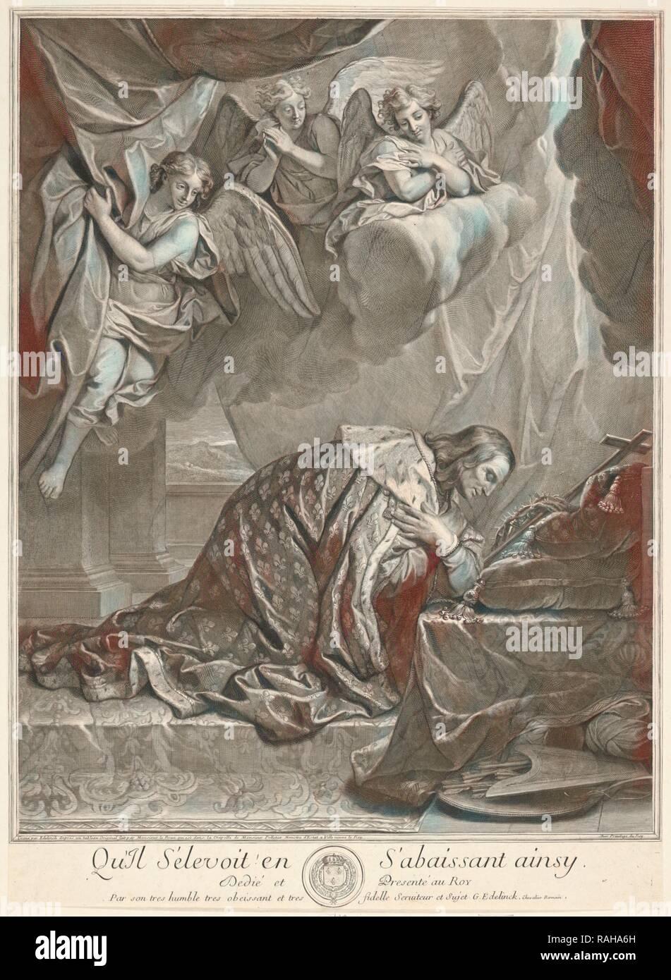 Retrato de San Luis, rey de Francia, Gérard Edelinck, 1640-1707, Charles Le Brun, 1619-1690, grabado, negro- reinventado Foto de stock