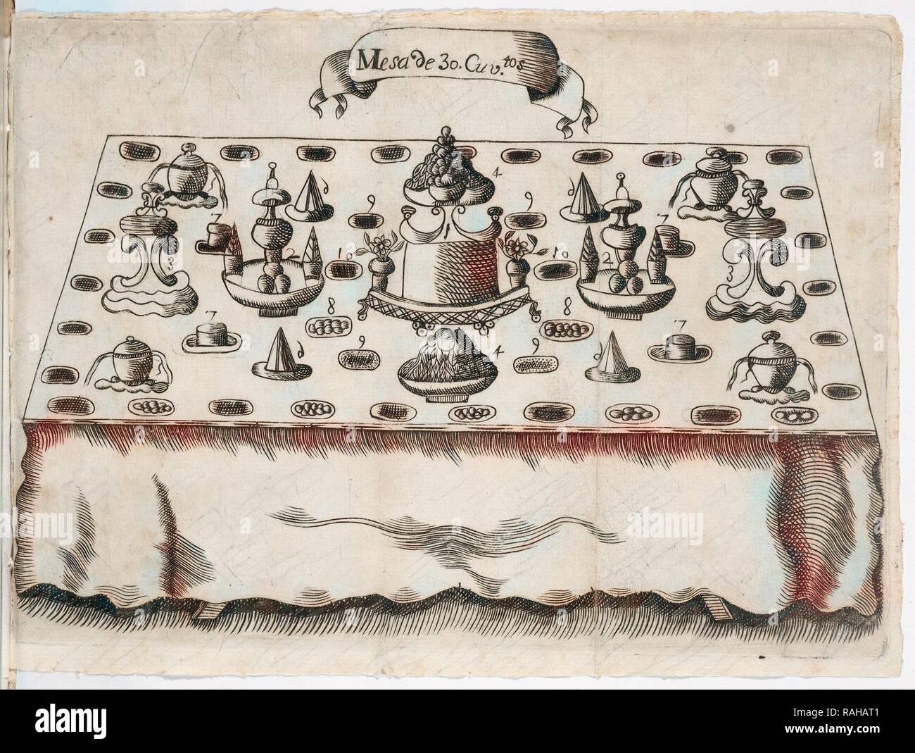 Mesa de 30. cuviertos, Arte de la repostería, en que se contiene todo genero de hacer dulces secos, y en lìquido reinventado Imagen De Stock
