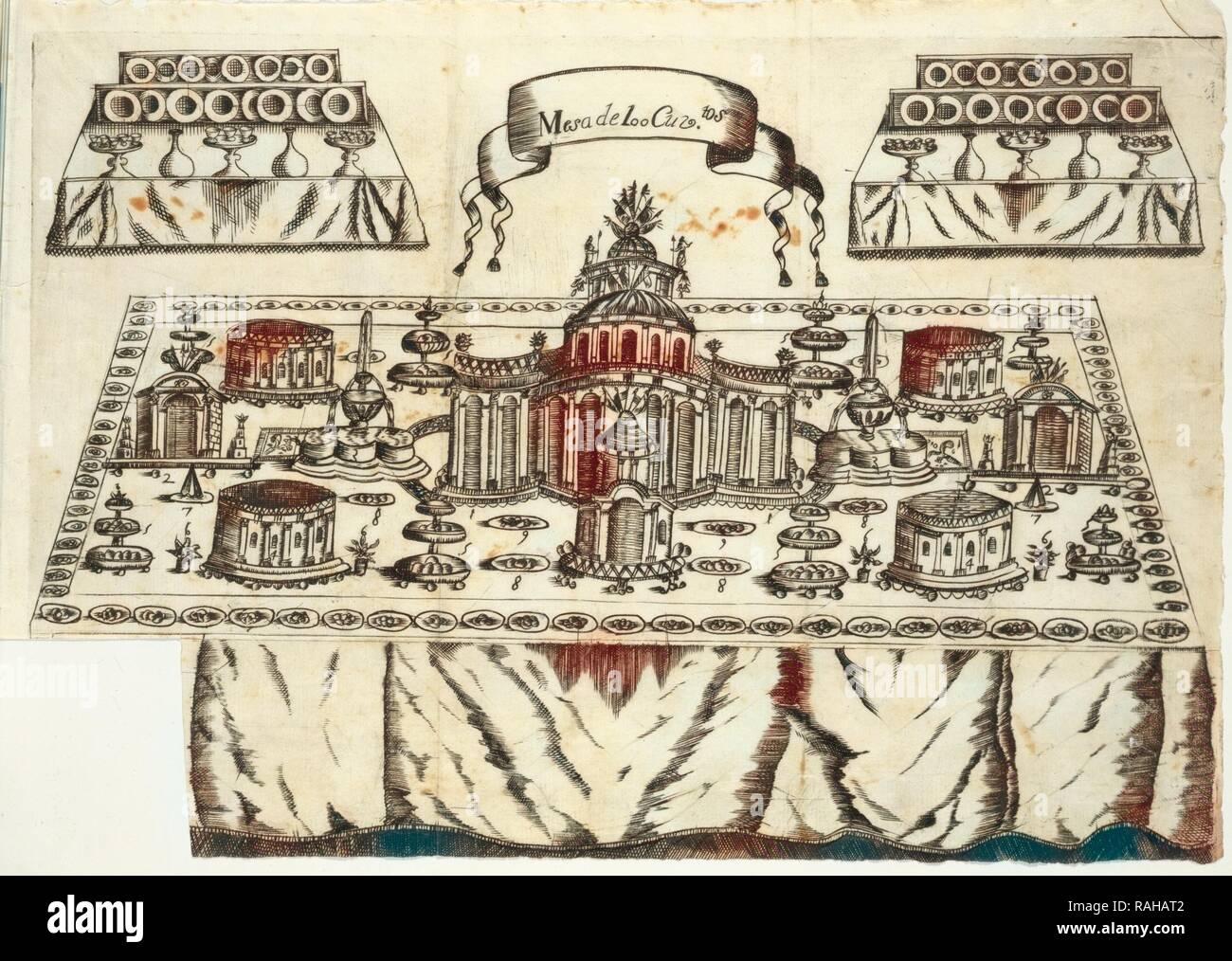Mesa de 100 cuviertos, Arte de la repostería, en que se contiene todo genero de hacer dulces secos, y en lìquido reinventado Imagen De Stock