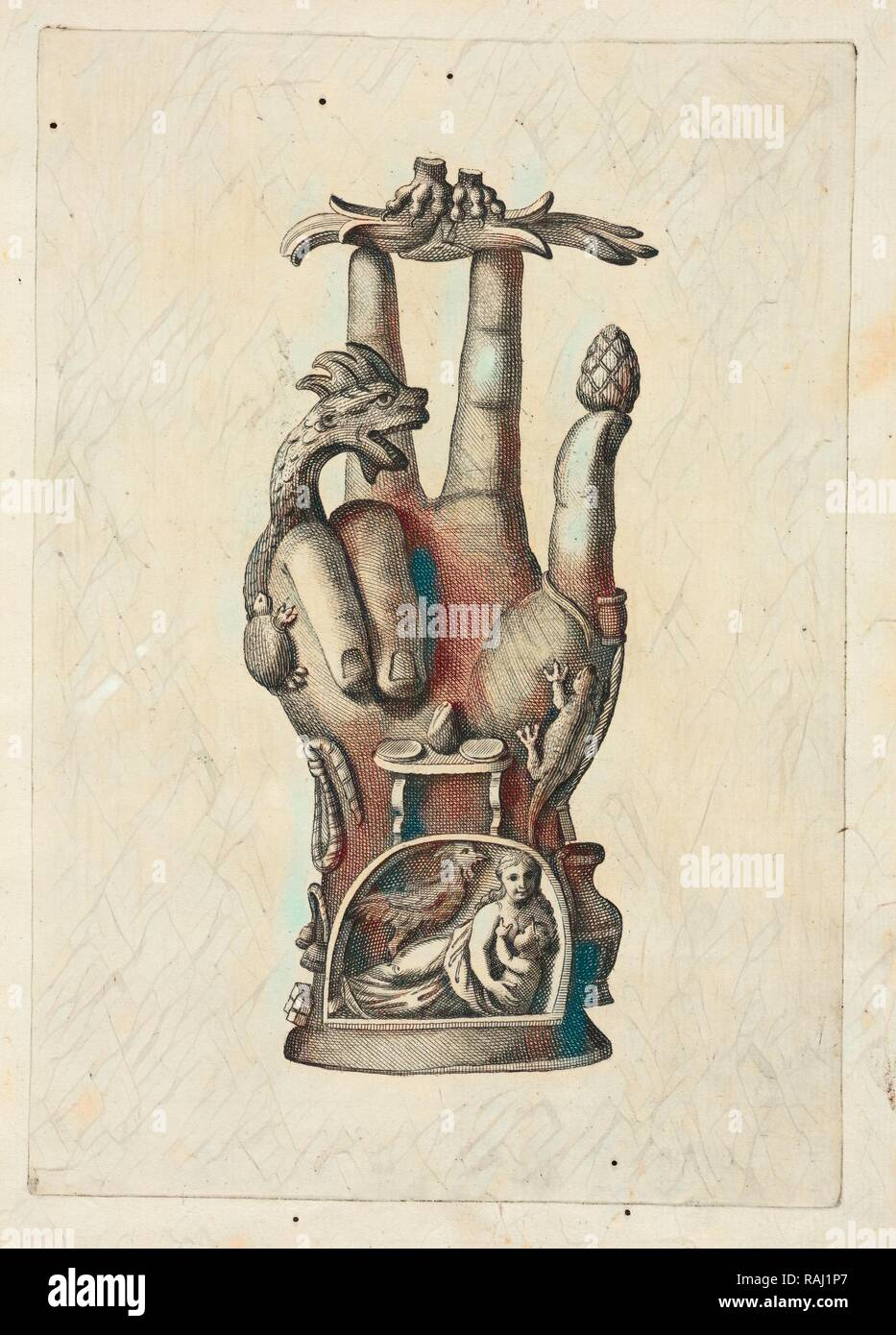 Mano di bronzo, detta Alcuni monumenti Pantea, del Museo Carrafa, Daniele, Francesco, 1740-1812, el grabado, el aguafuerte reinventado Imagen De Stock