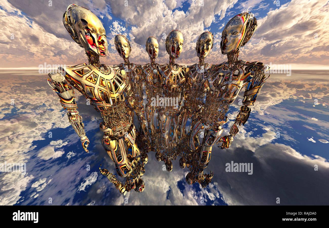 Inteligencia Artificial y transhumanismo Foto de stock