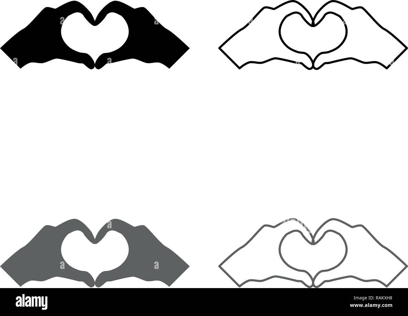 Dos manos tienen forma corazón manos haciendo el símbolo del corazón de silueta conjunto de iconos de vector de color negro gris esquematizo tipo plano simple imagen Ilustración del Vector