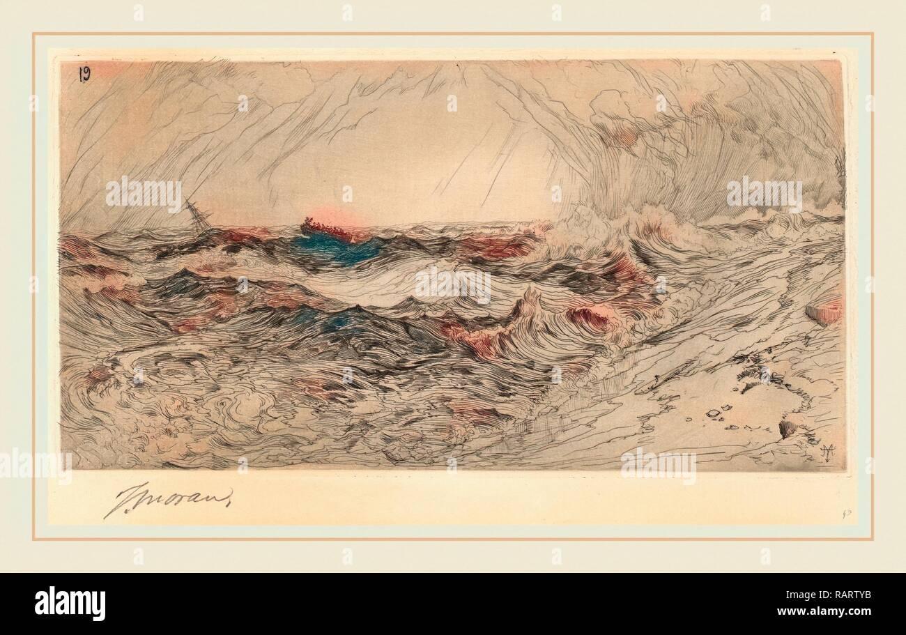 Thomas Moran, el resonante Mar, americana, 1837-1926, 1886 Aguafuerte. Reimagined by Gibon. Arte clásico con un moderno reinventado Imagen De Stock