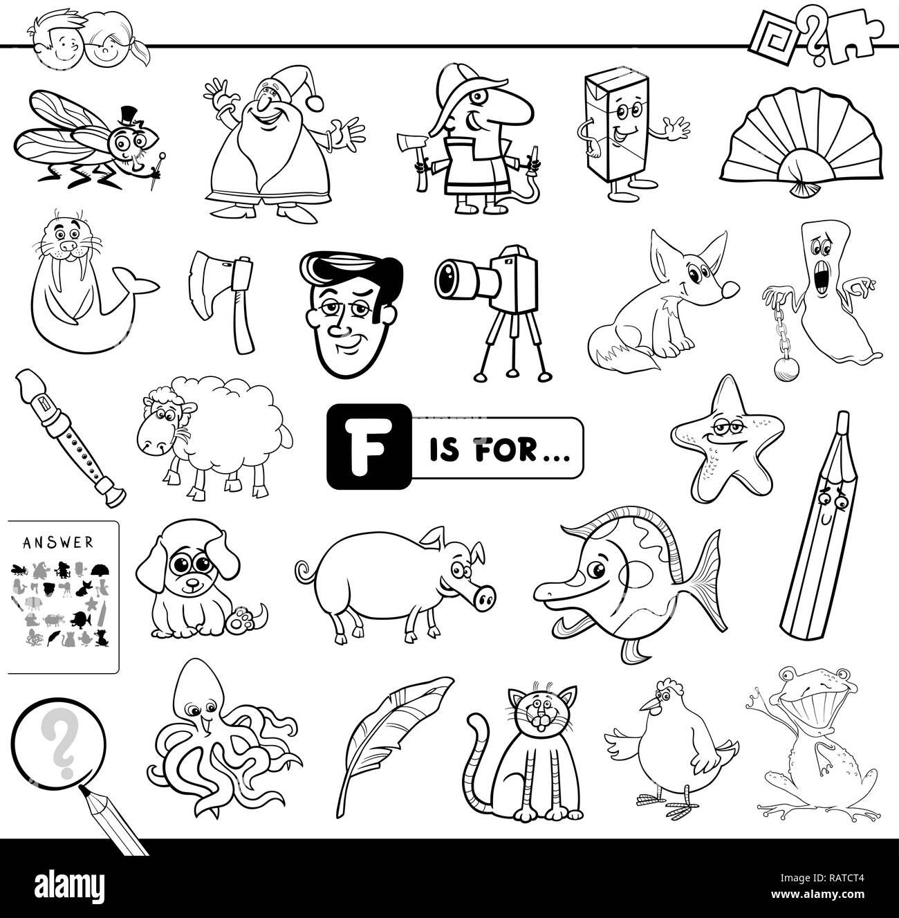 Ilustración Caricatura En Blanco Y Negro De Encontrar La Imagen Que