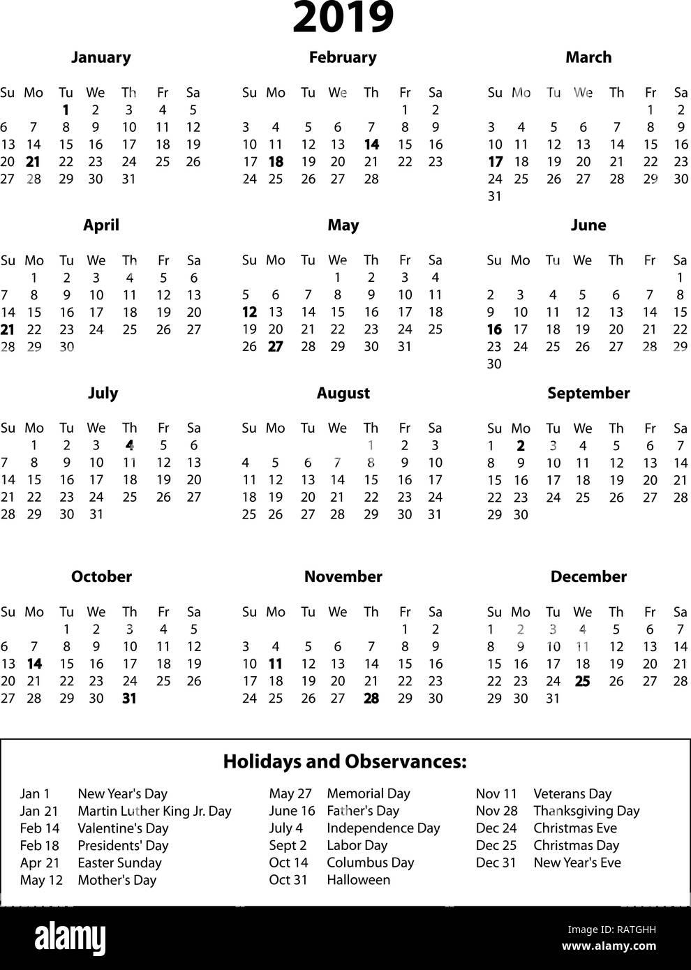 Calendario En Blanco.2019 Pagina Completa Calendario En Blanco Y Negro Foto Imagen De