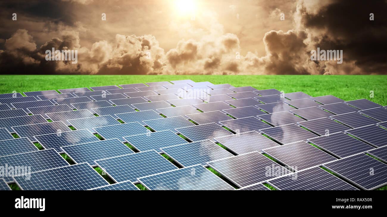 Imagen compuesta de paneles solares Imagen De Stock