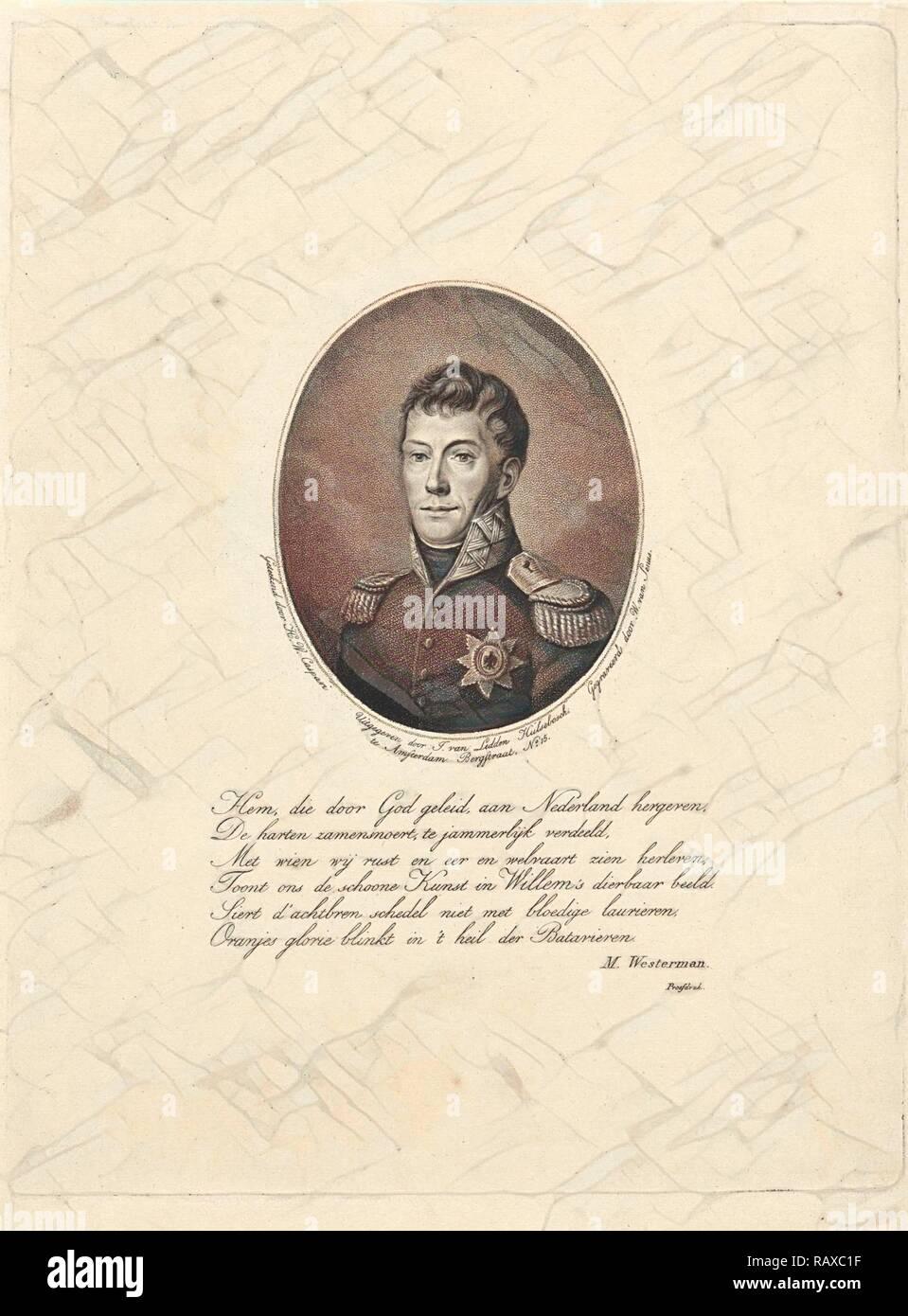 Retrato de Federico Guillermo I (rey de los Países Bajos), Willem van Senus, Marten Westerman, J. van Ledden reinventado Imagen De Stock