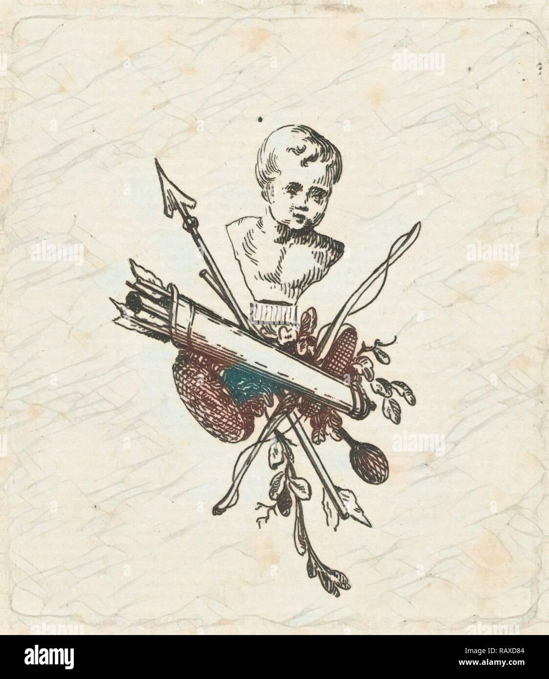 Vignette con busto de Amor, arcos y flechas y carcaj, Willem Bilderdijk, 1766 - 1831. Reimagined by Gibon. Clásico reinventado Imagen De Stock