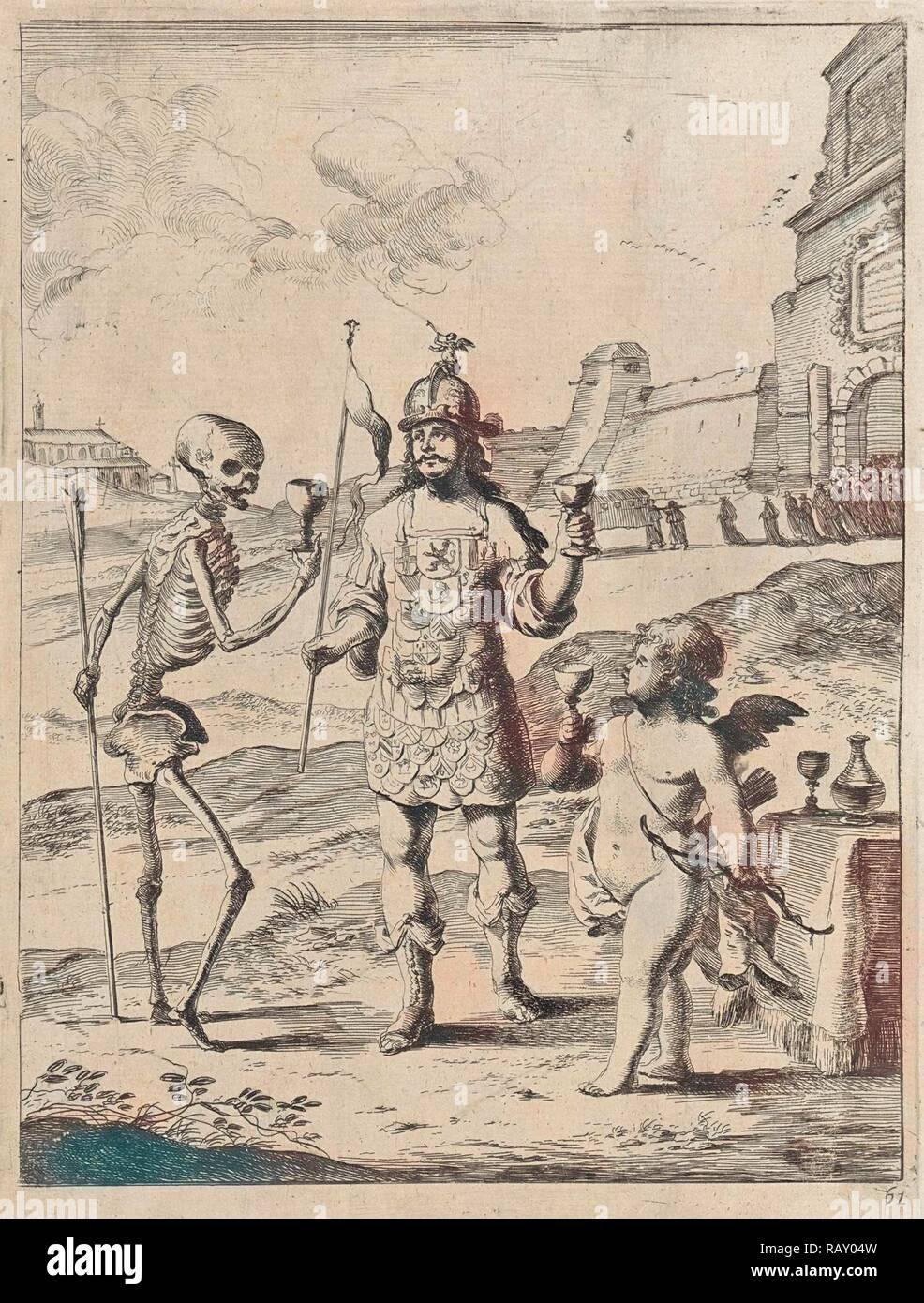 La fábula de Cupido, la muerte y la reputación. Dirk Stoop, John Ogilby, 1665. Reimagined by Gibon. Arte clásico con un moderno reinventado Imagen De Stock