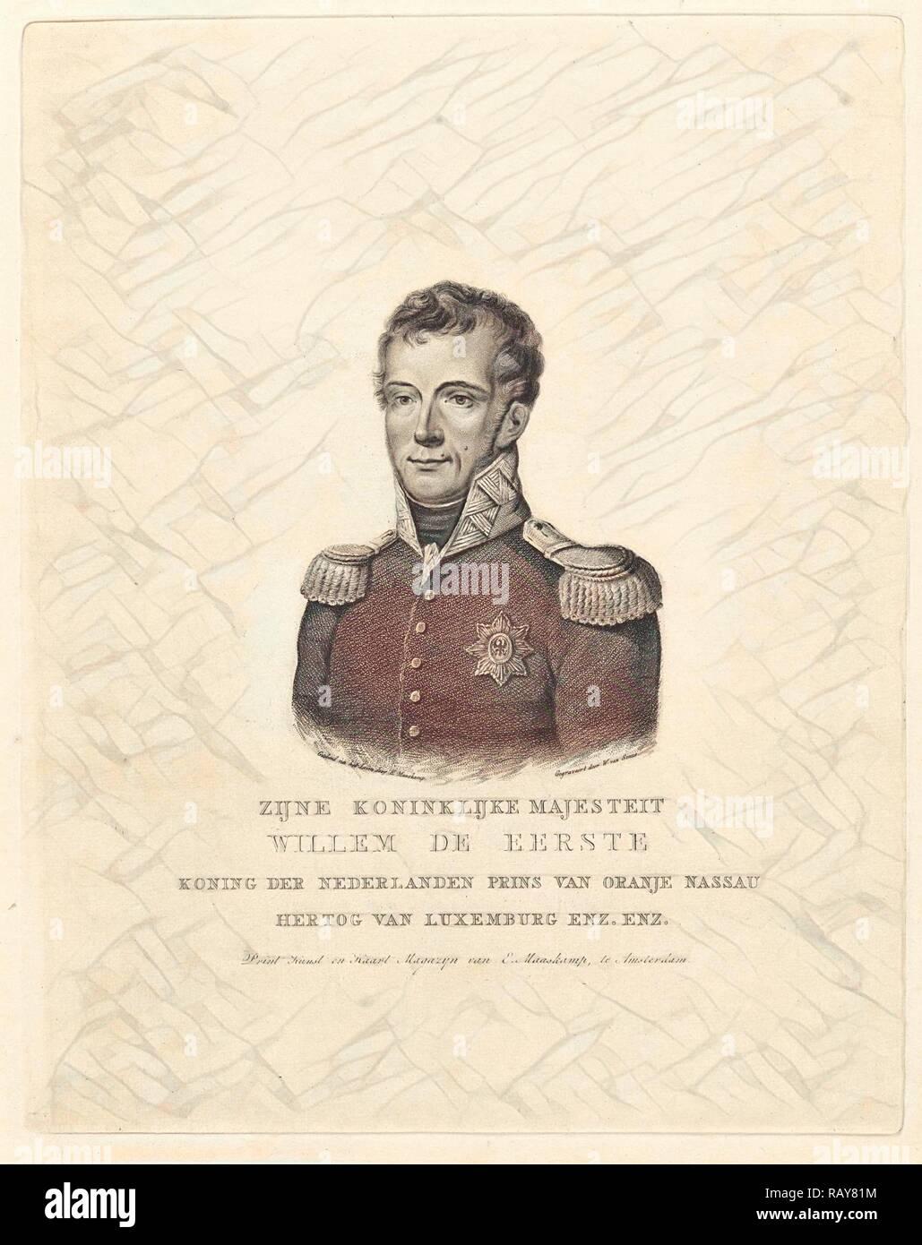 Retrato de Frederik Willem I, rey de los Países Bajos. Willem van Senus, Evert Maaskamp, 1814 - 1843. Reinventado Imagen De Stock