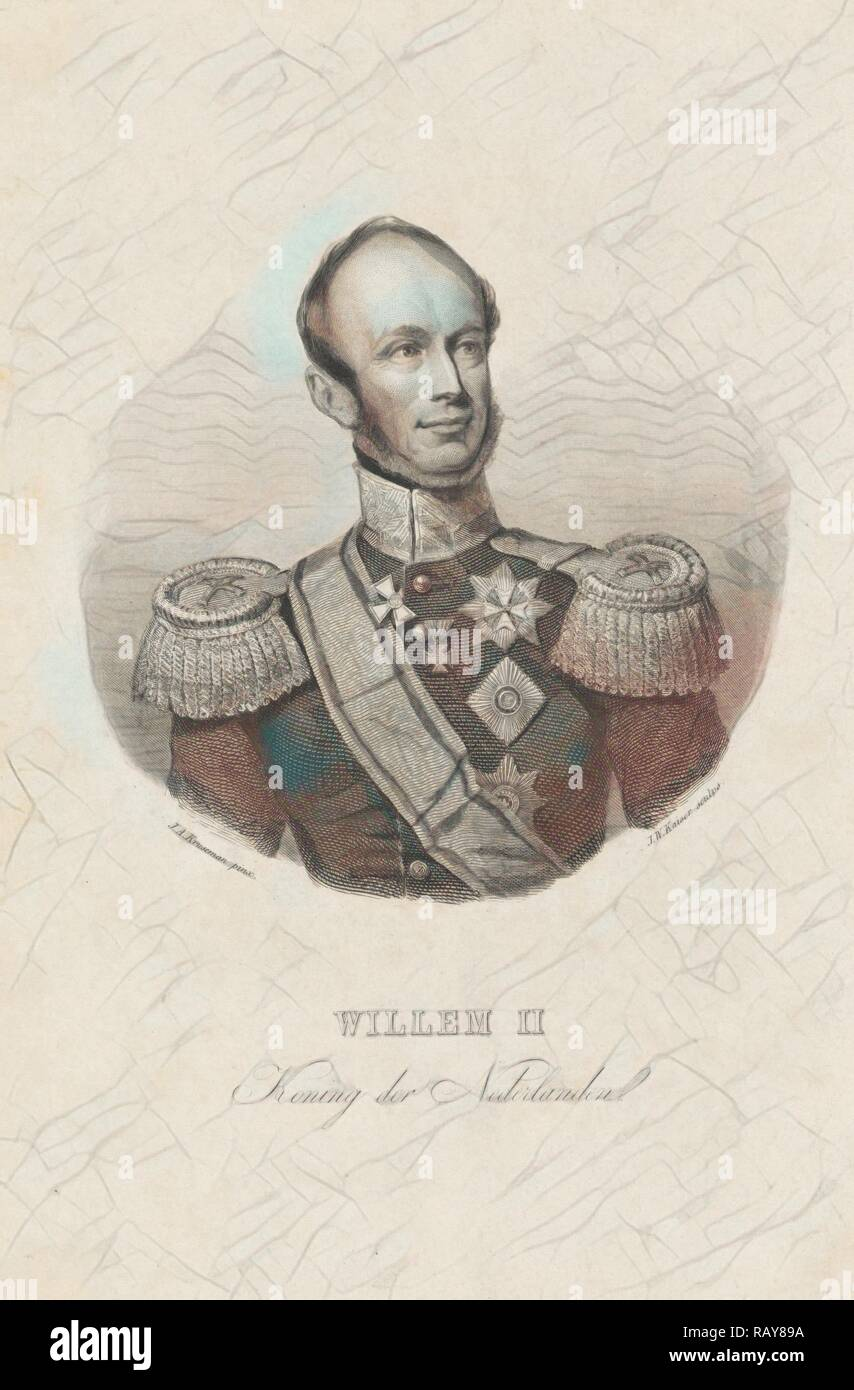Retrato de Guillermo II, rey de los Países Bajos, Johann Wilhelm Kaiser (I), 1840-1900. Reimagined by Gibon. Clásico reinventado Imagen De Stock
