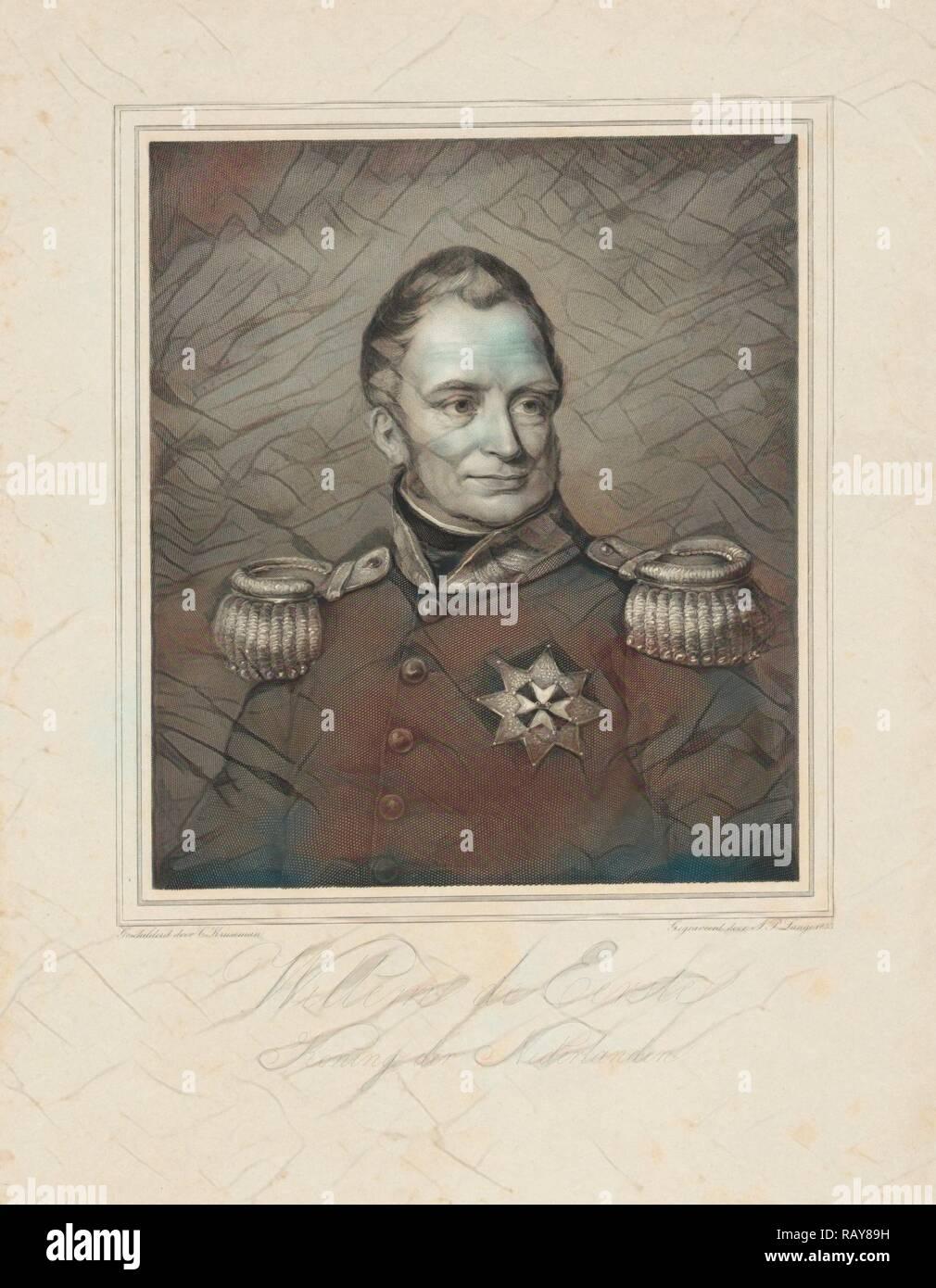 Retrato de Frederik Willem I, Rey de los Países Bajos, Johannes Philippus Lange, 1835. Reimagined by Gibon. Clásico reinventado Imagen De Stock