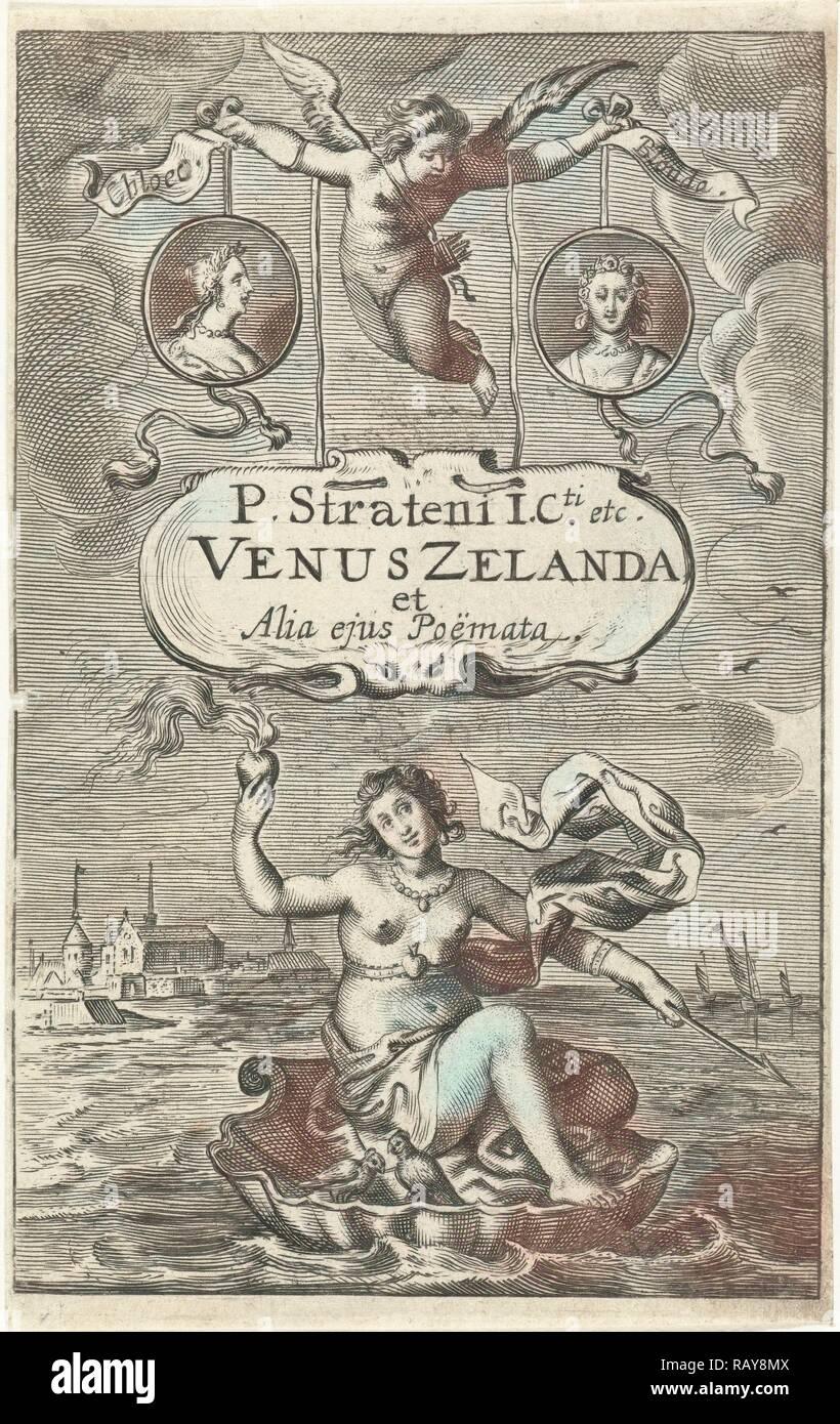 Venus en un shell con corazón ardiente y flecha, flotando fuera de la costa de Zeeland, coronado por dos medallones con reinventado Imagen De Stock