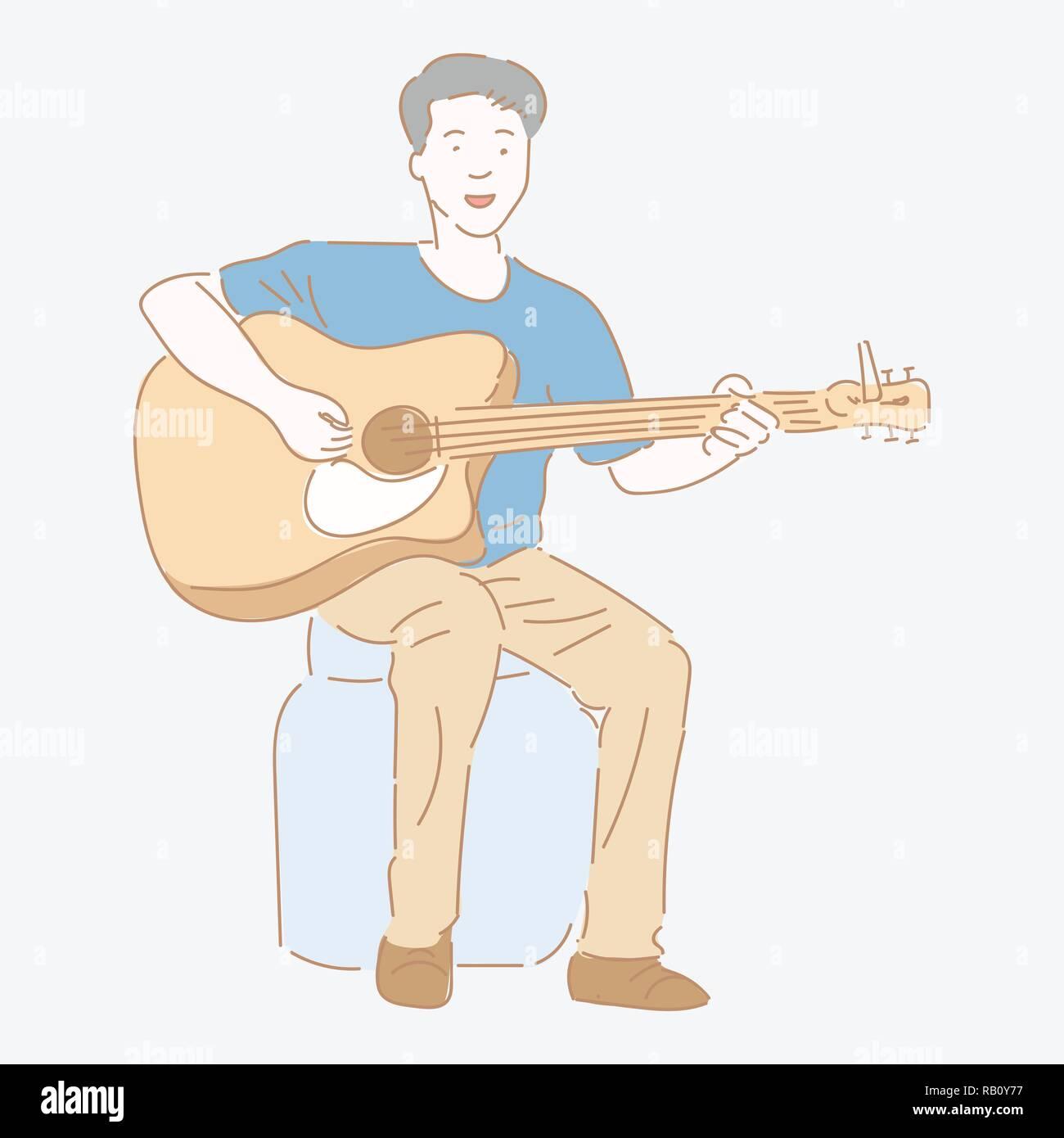 El guitarrista hombre tocando la guitarra sentado en recipiente de plástico. Concepto de música, estilo plano diseño gráfico - ilustración vectorial. Ilustración del Vector