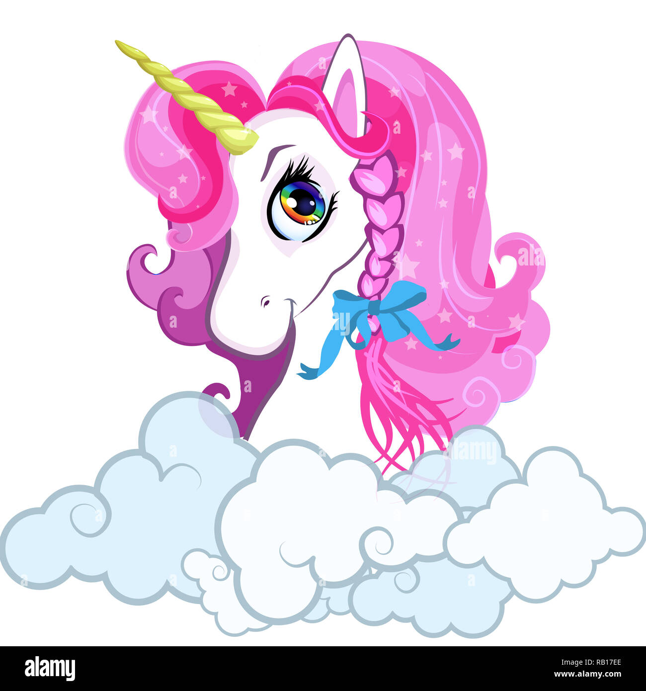 Cartoon White Pony Unicornio Cabeza Con Pelo De Color Rosa Retrato