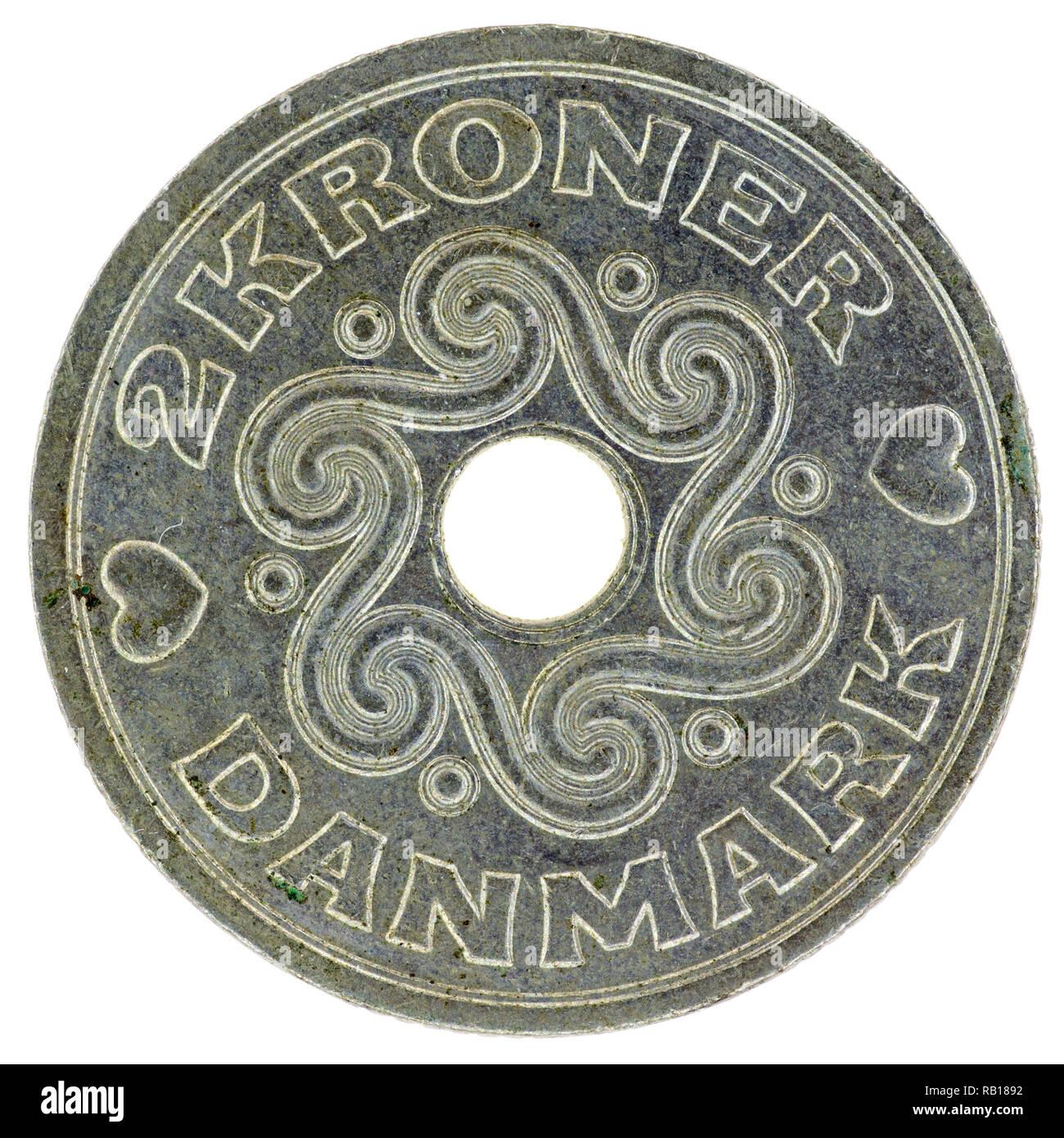 2 Coronas danesas coin Foto de stock