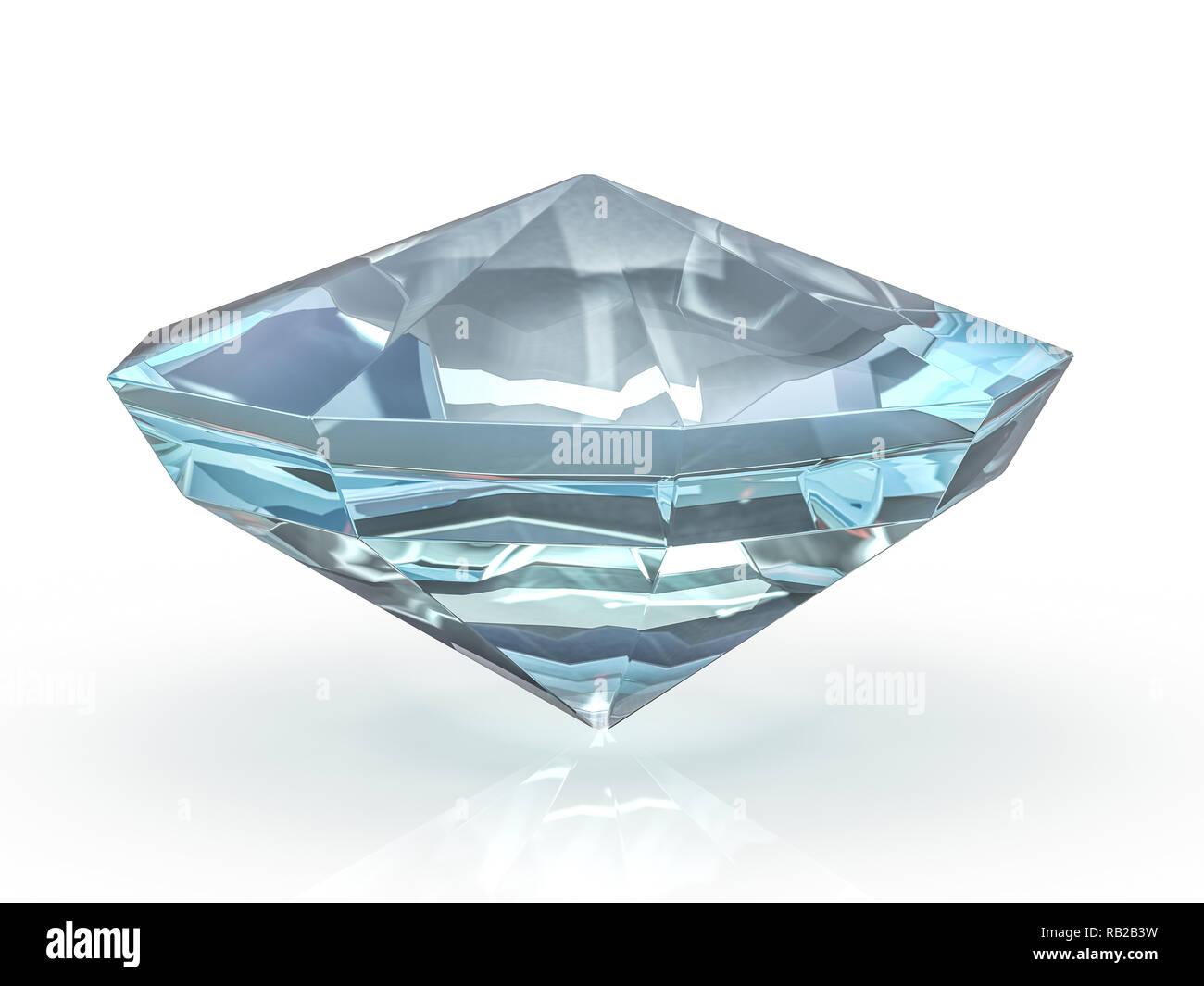 43d801fc09b2 Diamante deslumbrante sobre un fondo blanco. 3D rendering Imagen De Stock