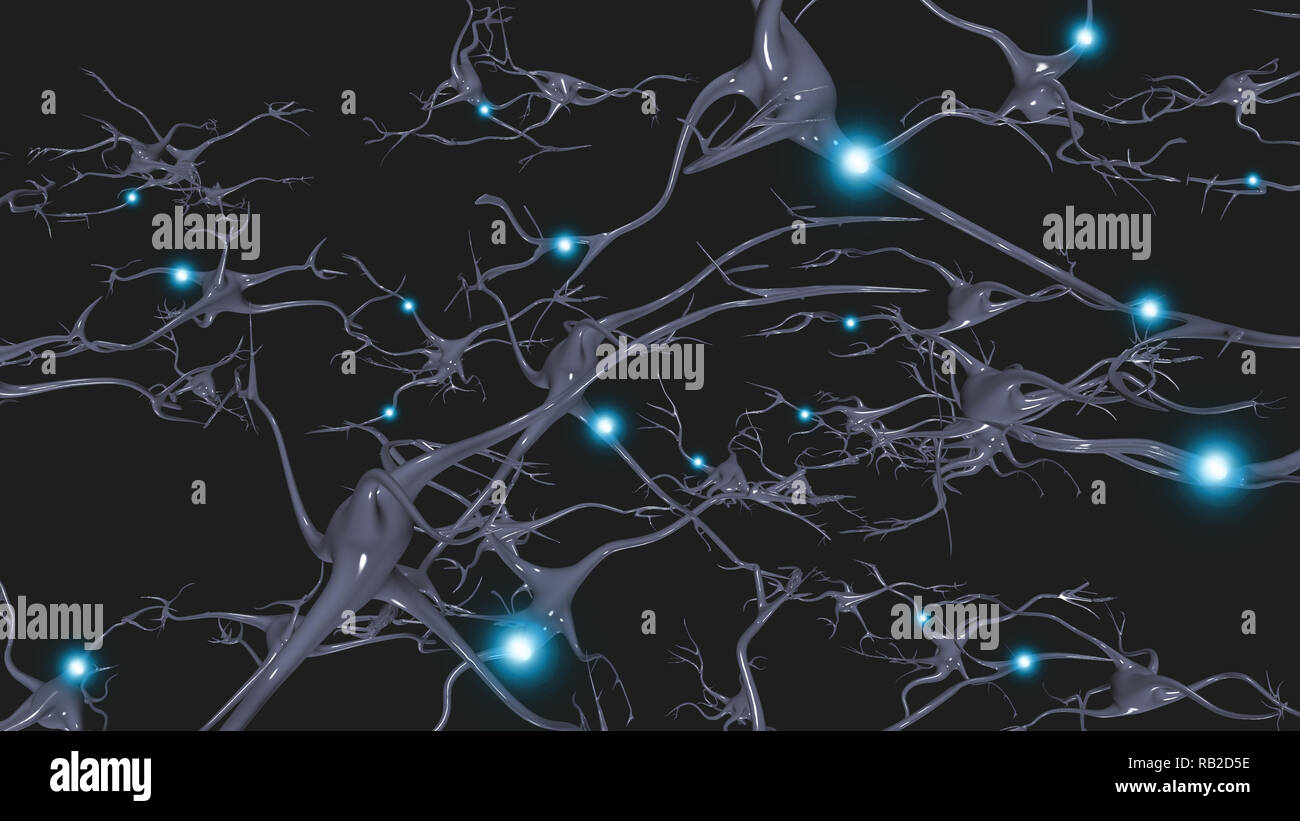 Las células cerebrales neuronas con disparo eléctrico Imagen De Stock