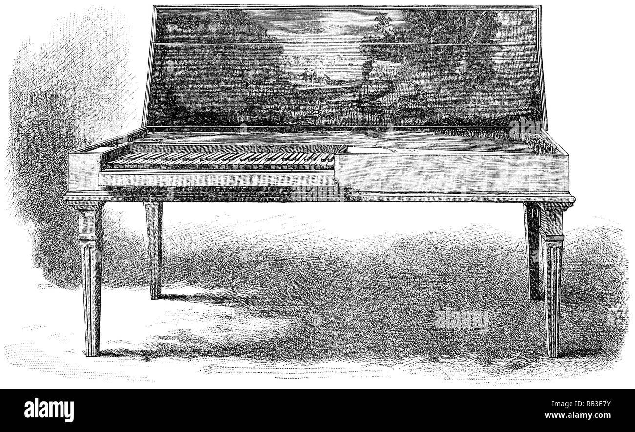 1884 Grabado de un verde clavicordio construido por Barthold Fritz de Brunswick en 1751. Actualmente en almacenamiento en el Victoria and Albert Museum de Londres. Imagen De Stock