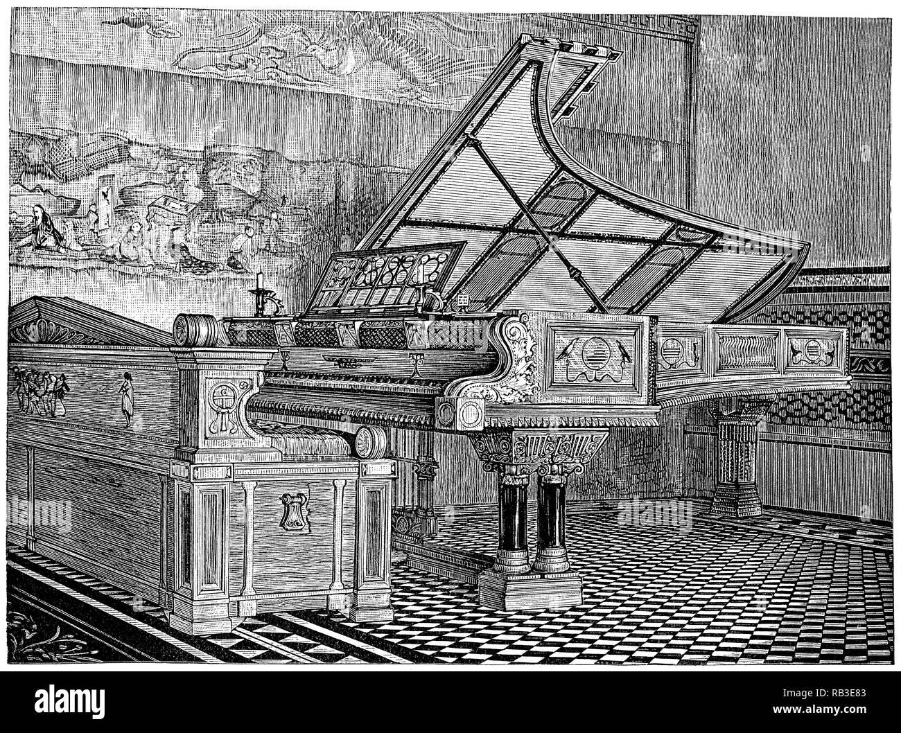 1884 Grabado de un piano pertenecientes al pintor Sir Lawrence Alma-Tadema. Imagen De Stock
