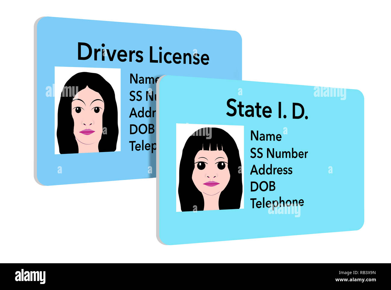 A continuación se muestra una ilustración de una tarjeta de identificación del estado, que se utiliza para los jóvenes. Una joven chica del ID es visto junto a su madre la licencia de conductores. Imagen De Stock