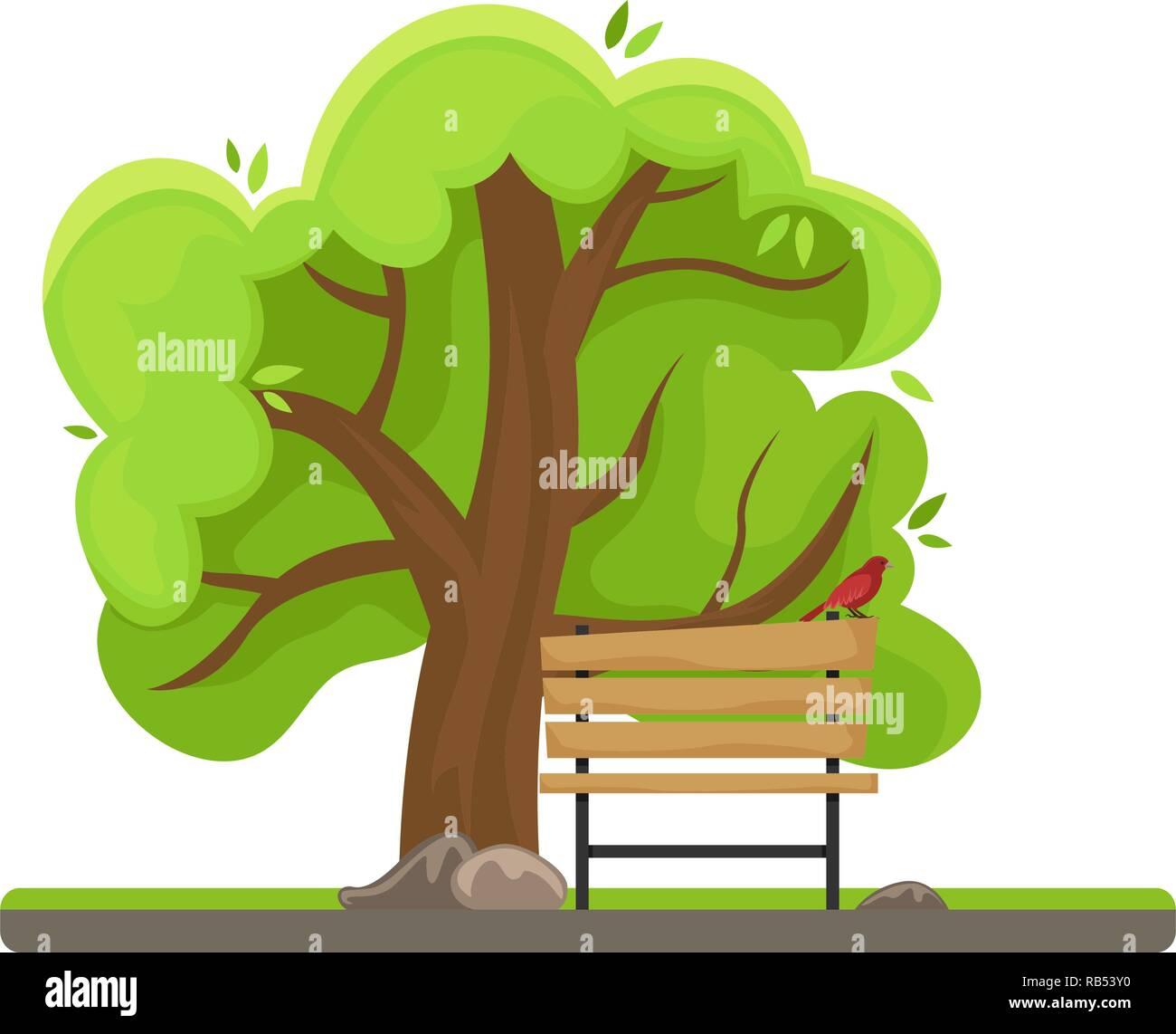 árbol De Primavera Banco Con Un Pájaro Imagen Aislada Día Soleado