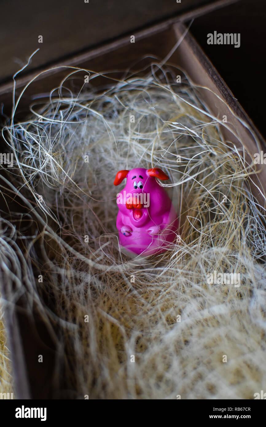 Paja De Cerdo Rosa La Madera Juguete En Como Caja Figurillas v8m0wONn