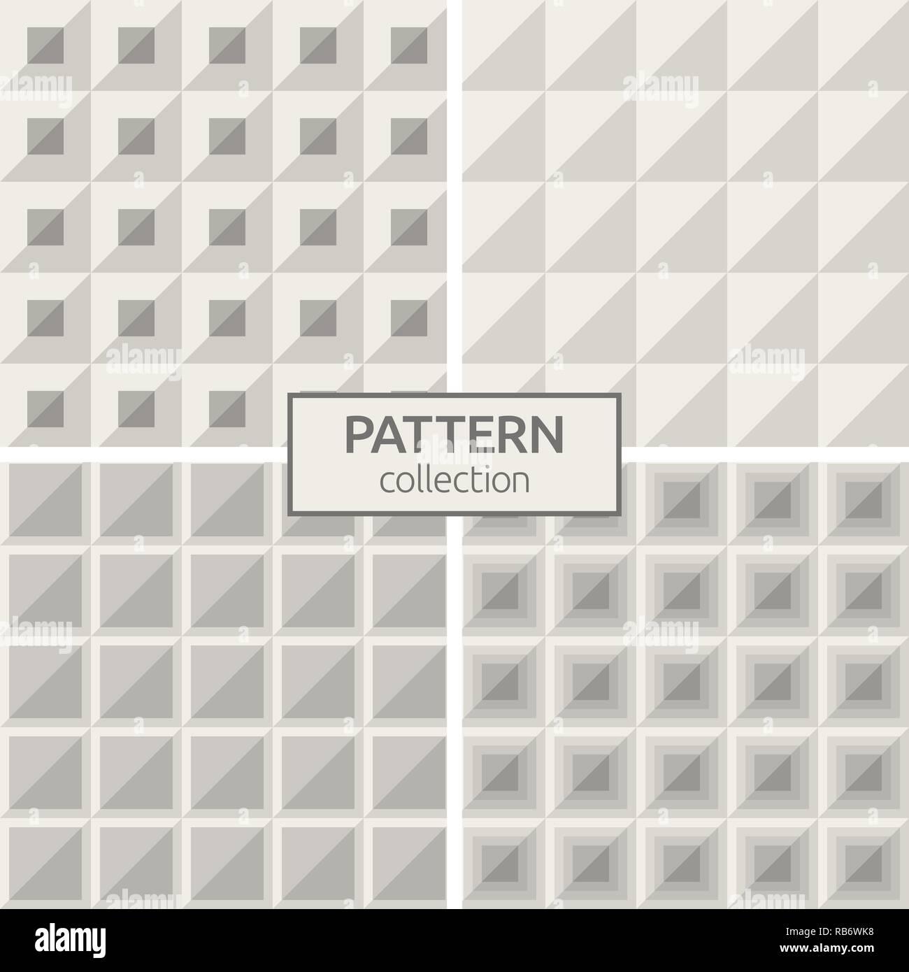 Conjunto de cuatro patrones sin fisuras. Antecedentes vector de moda geométrica abstracta. Texturas, moderno y elegante. Repetición mosaicos cuadrados geométricos, triángulos. Imagen De Stock