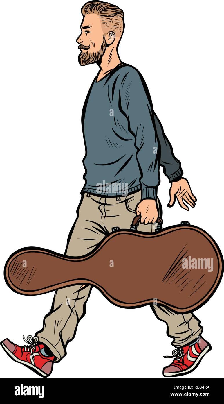Músico guitarrista, viene con un artesonado. Pop art ilustración vector vintage retro kitsch Ilustración del Vector
