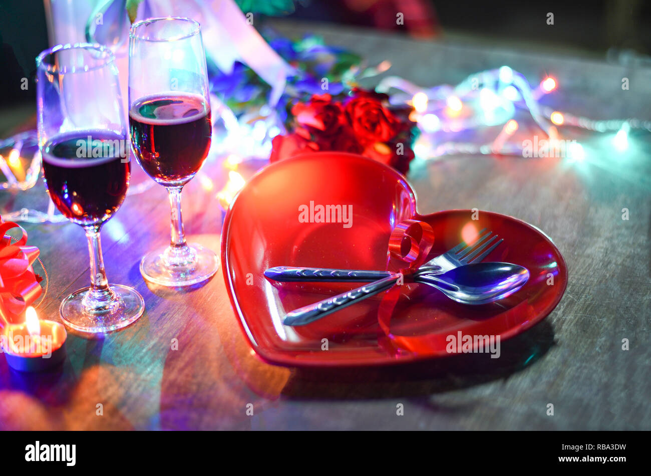 Día De San Valentín Cena Romántica Del Amor Romántico