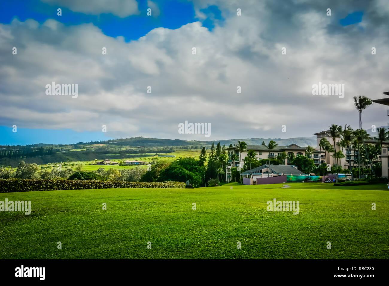 Kapalua, Maui, Hawai.exclusivo enclave turístico con hoteles, residencias elegantes, campos de golf de clase mundial, playas y restaurantes. Foto de stock