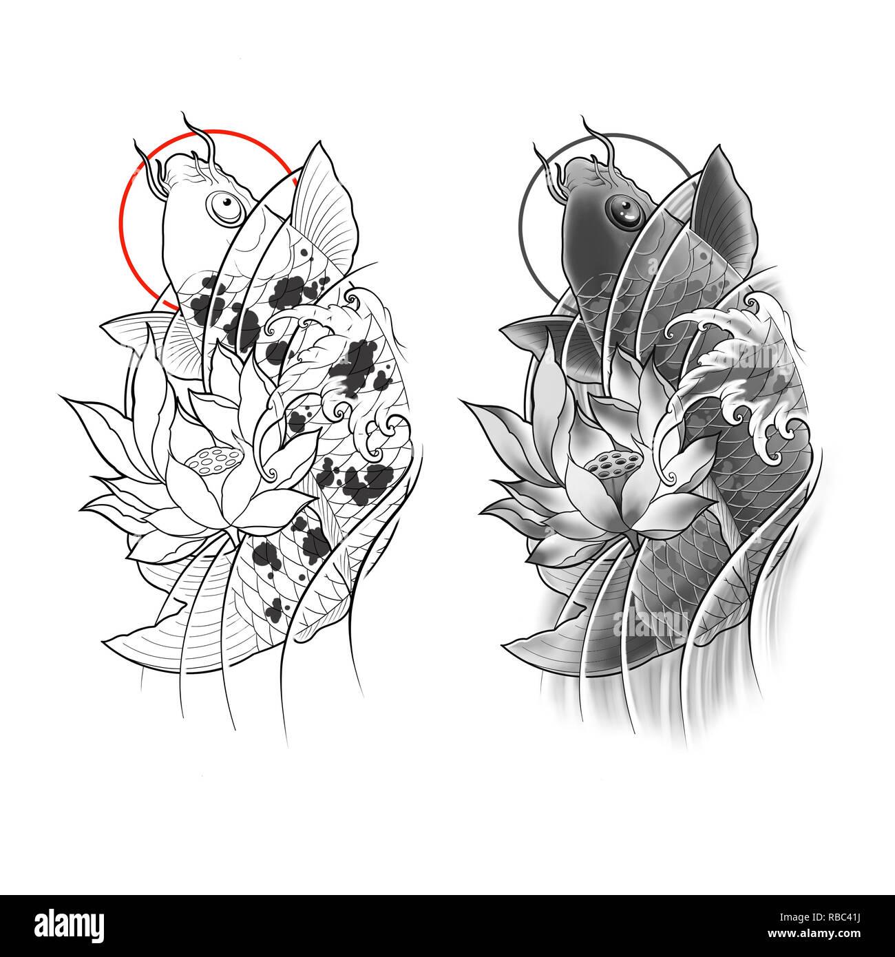 Peces Koi Dibujados A Mano Con Flor De Loto Y Ola De Agua Diseño De