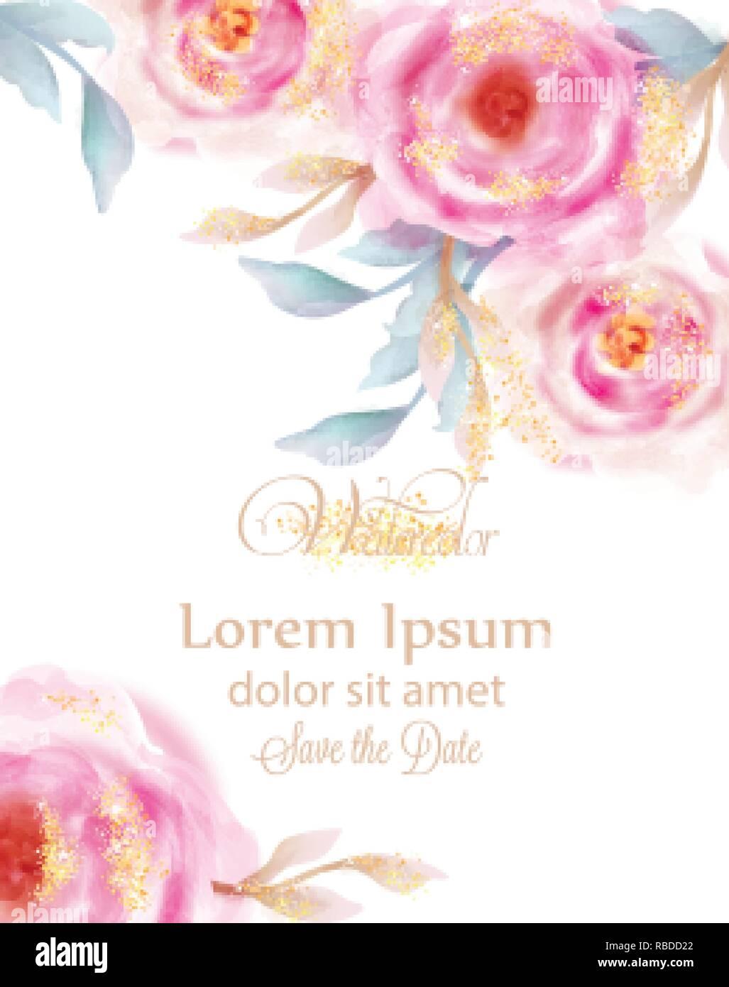 Acuarela Rosas Rosas Con Lentejuelas De Oro Vector Tarjeta
