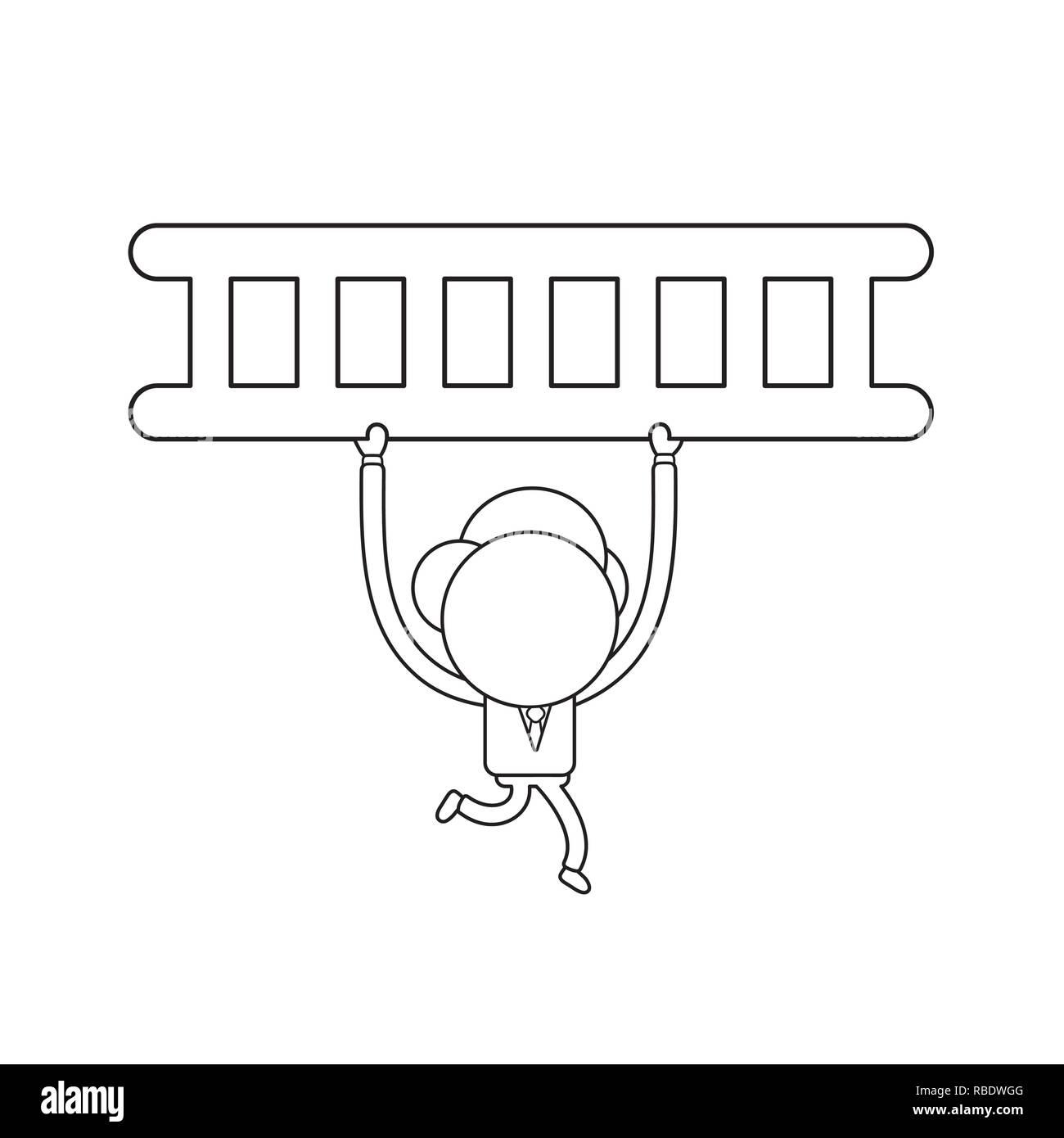 6f712c8e7e Ilustración vectorial concepto de empresario personaje ejecutando y llevando  a la escalera. Contorno negro.