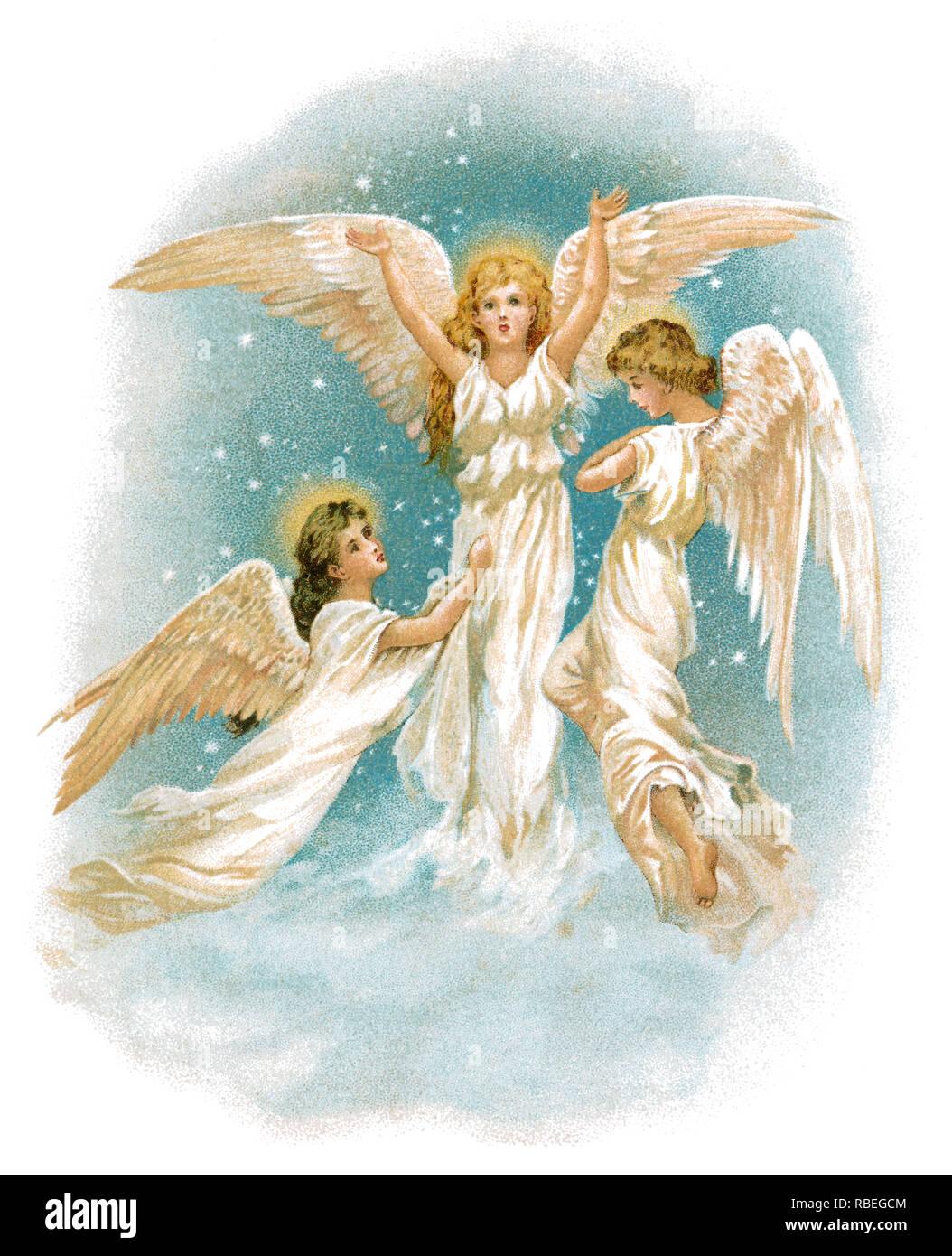 1893 sentimental ilustración Victoriana de tres ángeles. Foto de stock