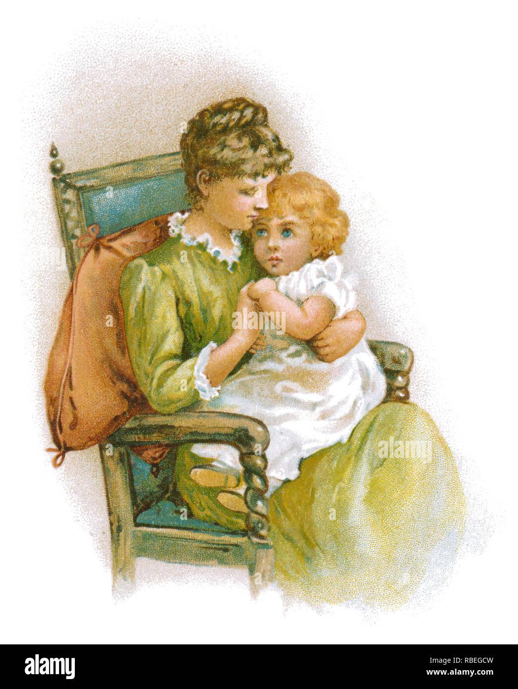 1893 ilustración Victoriana sentimental de una madre y su hijo. Foto de stock