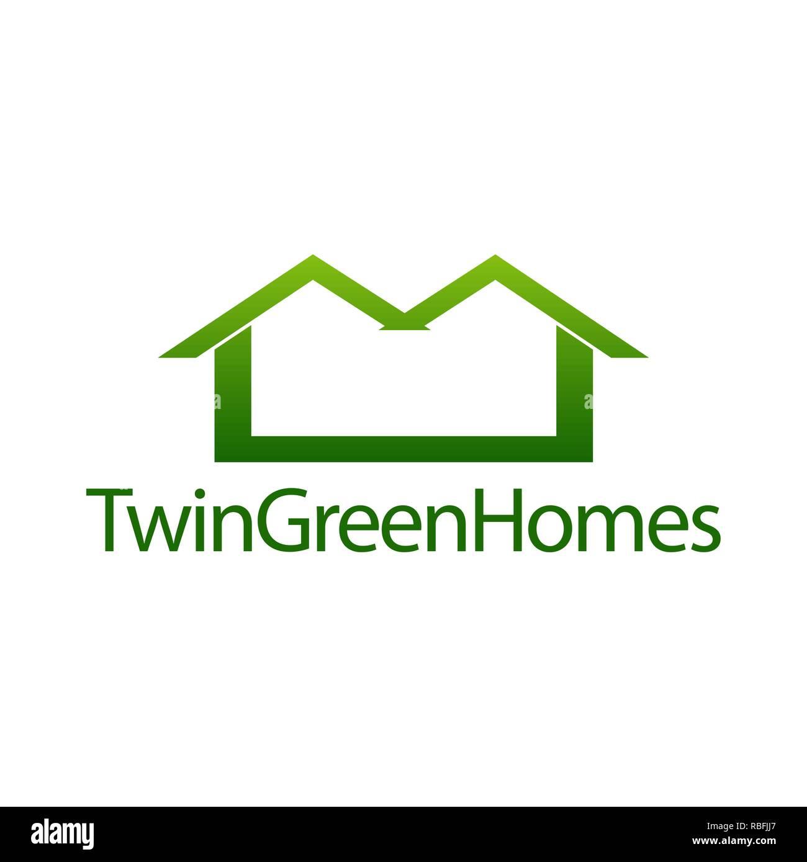 Dos Hogares Verdes Icono De La Casa Inmobiliaria Concepto Logo Design Template Idea Imagen Vector De Stock Alamy