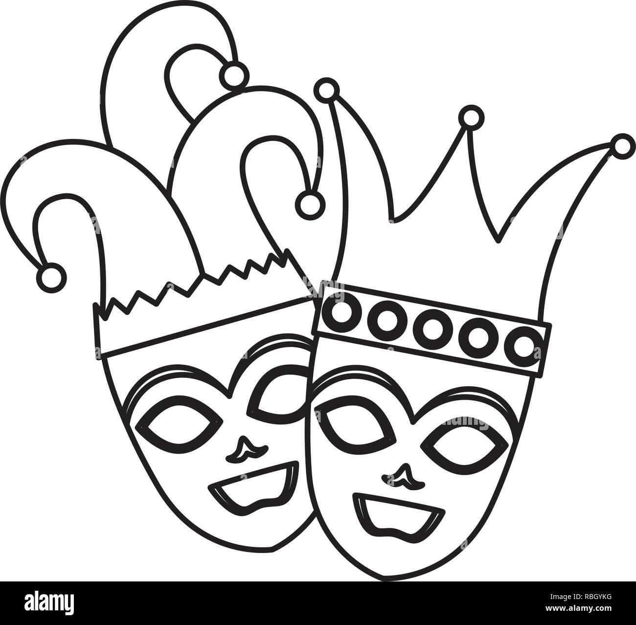 Teatro y máscaras de carnaval con sombrero de arlequín y corona ... f84a63c2948