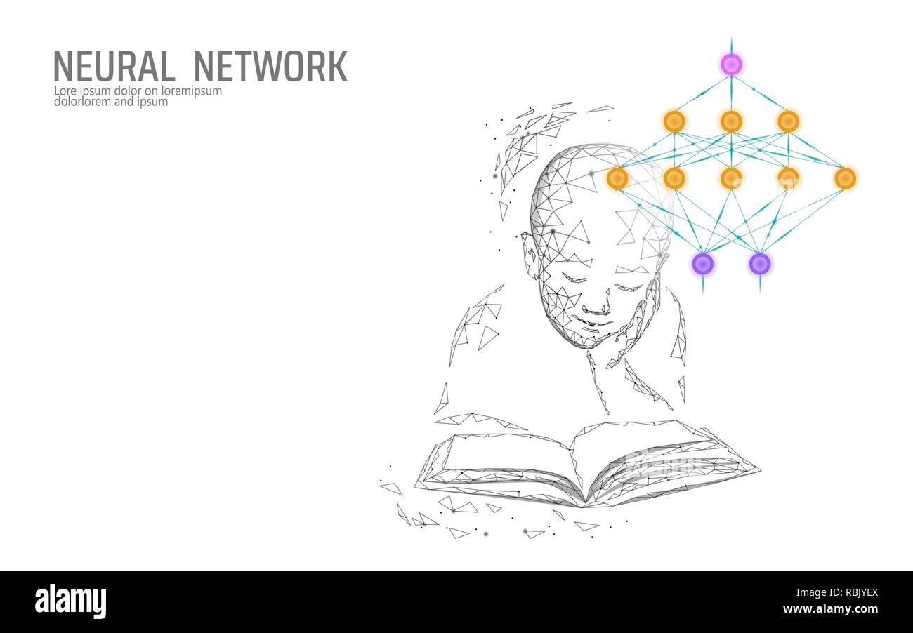 Educación infantil concepto online. Red neuronal artificial medicina Ciencia Tecnología de cloud computing. AI 3D biología sistema abstracto. Poligonal brillante azul ilustración vectorial Imagen De Stock