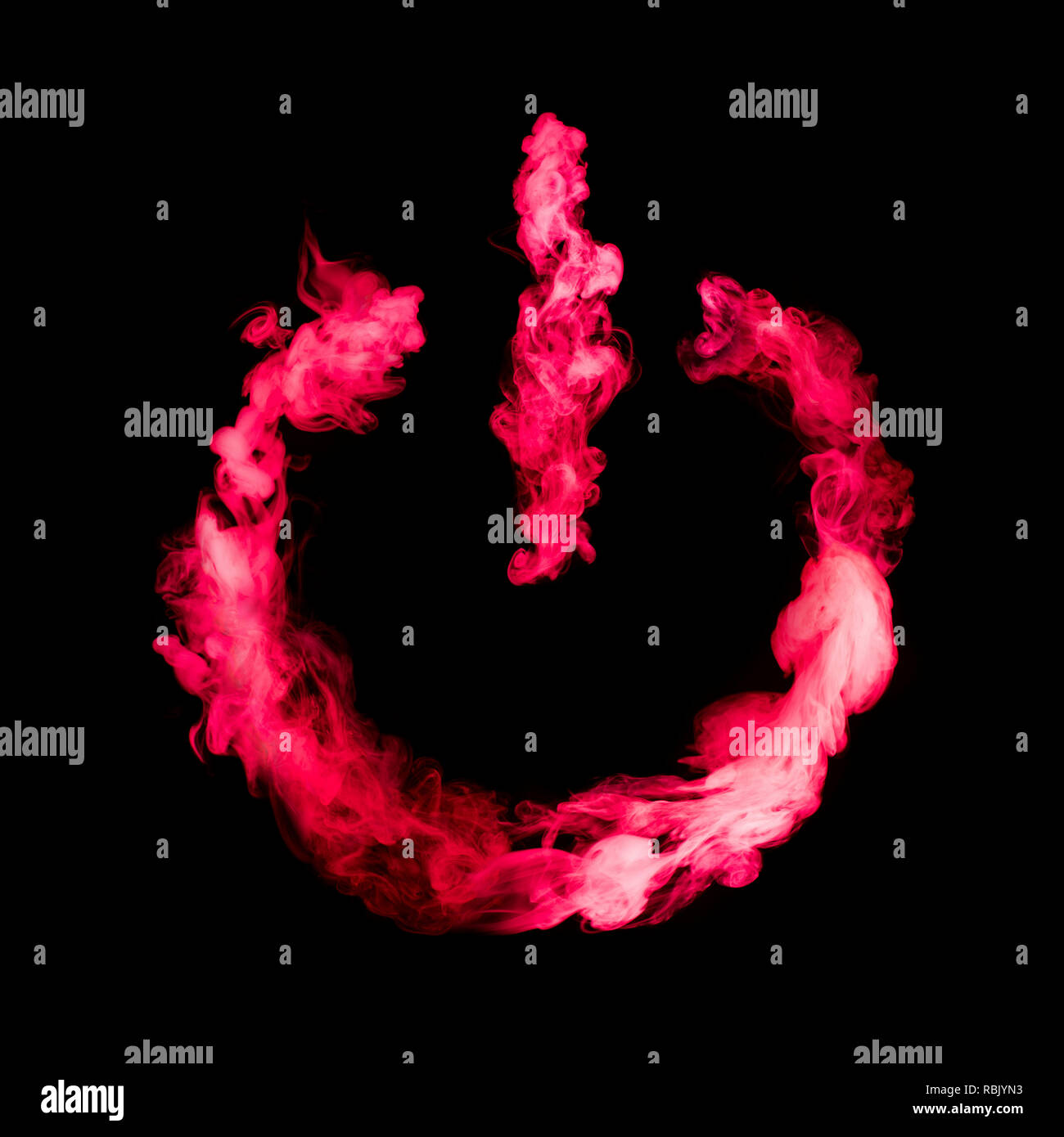 Desactivar el botón de signo de humo de color rojo sobre fondo negro aislado Imagen De Stock