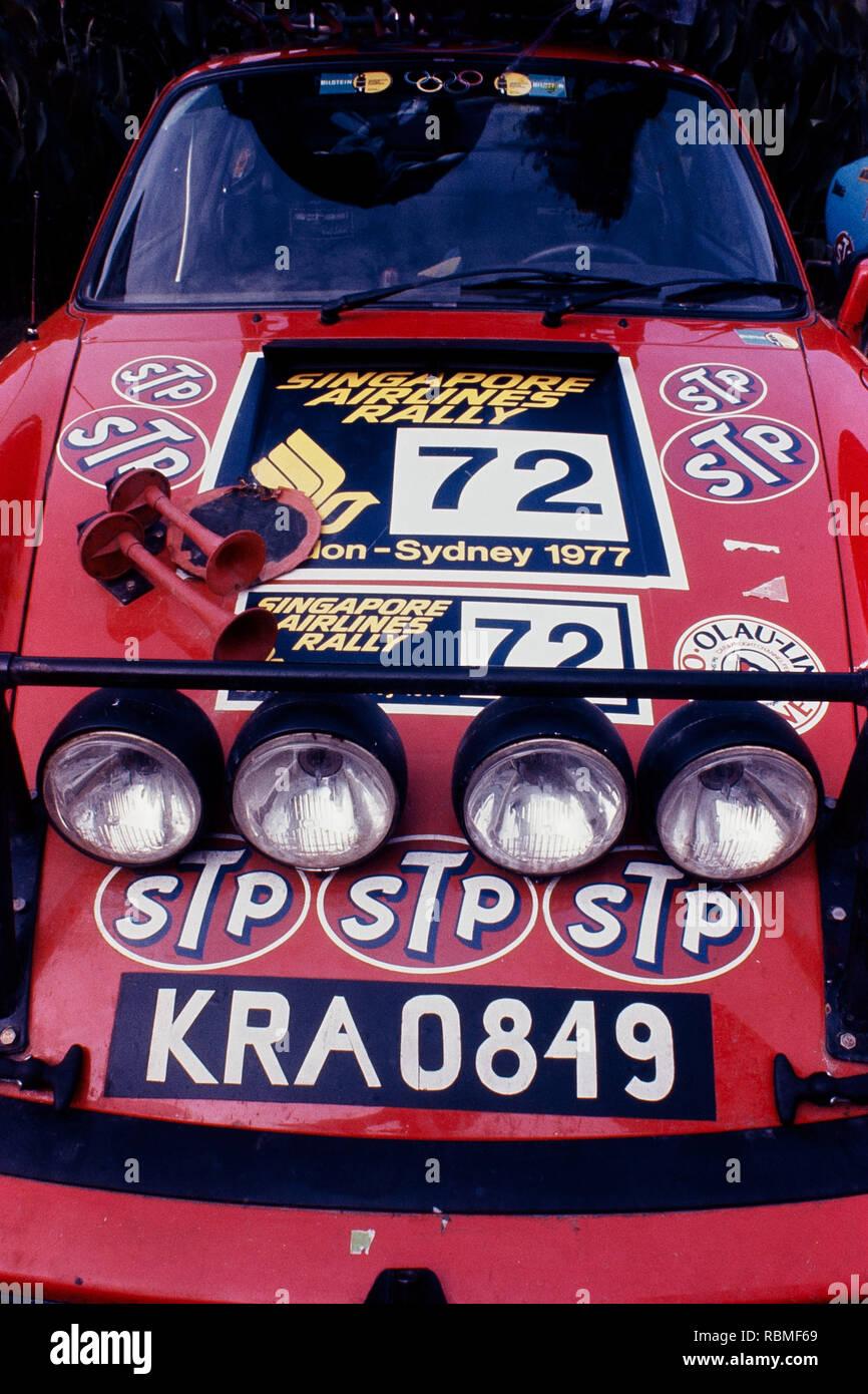 Coche moviéndose en la vía durante el Rally de Sydney, Australia, Londres Imagen De Stock
