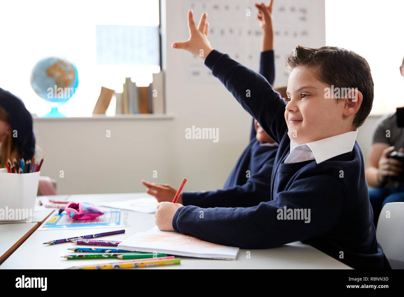 El colegial con síndrome de Down sentado en un escritorio, levantando su mano en una clase de la escuela primaria, cerrar, vista lateral Imagen De Stock